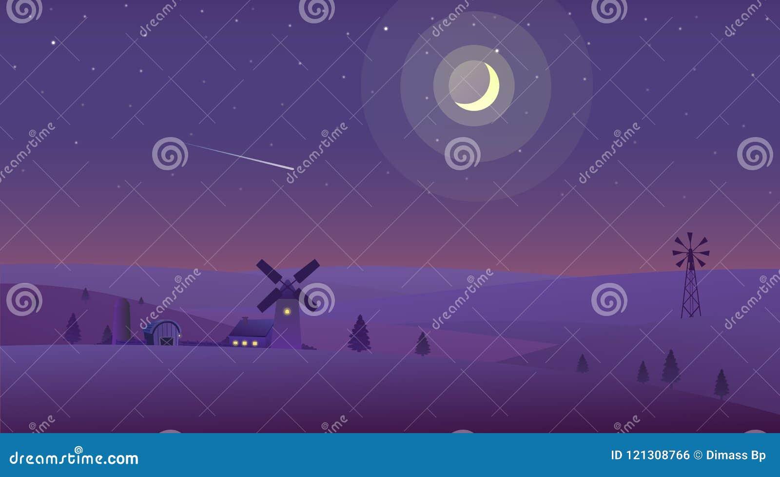 在乡下导航夜间自然风景的例证
