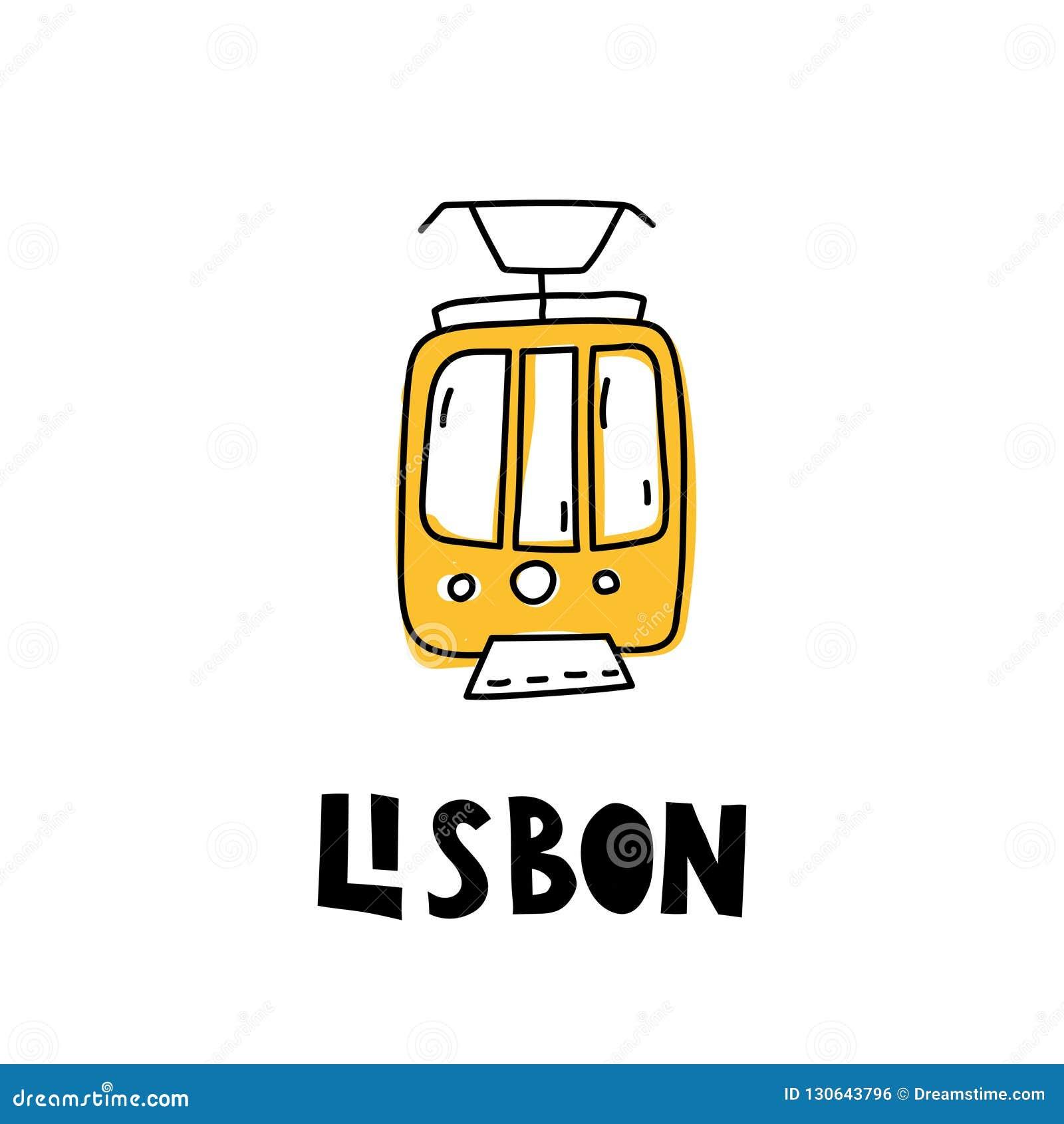 在乱画样式的黄色里斯本电车