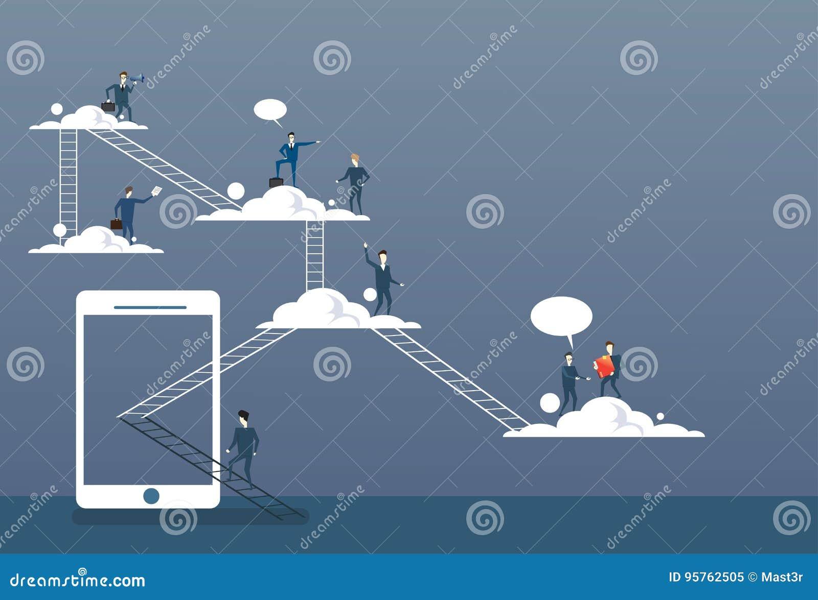 在云彩的商人小组,连接技术网上互联网公司数据存取