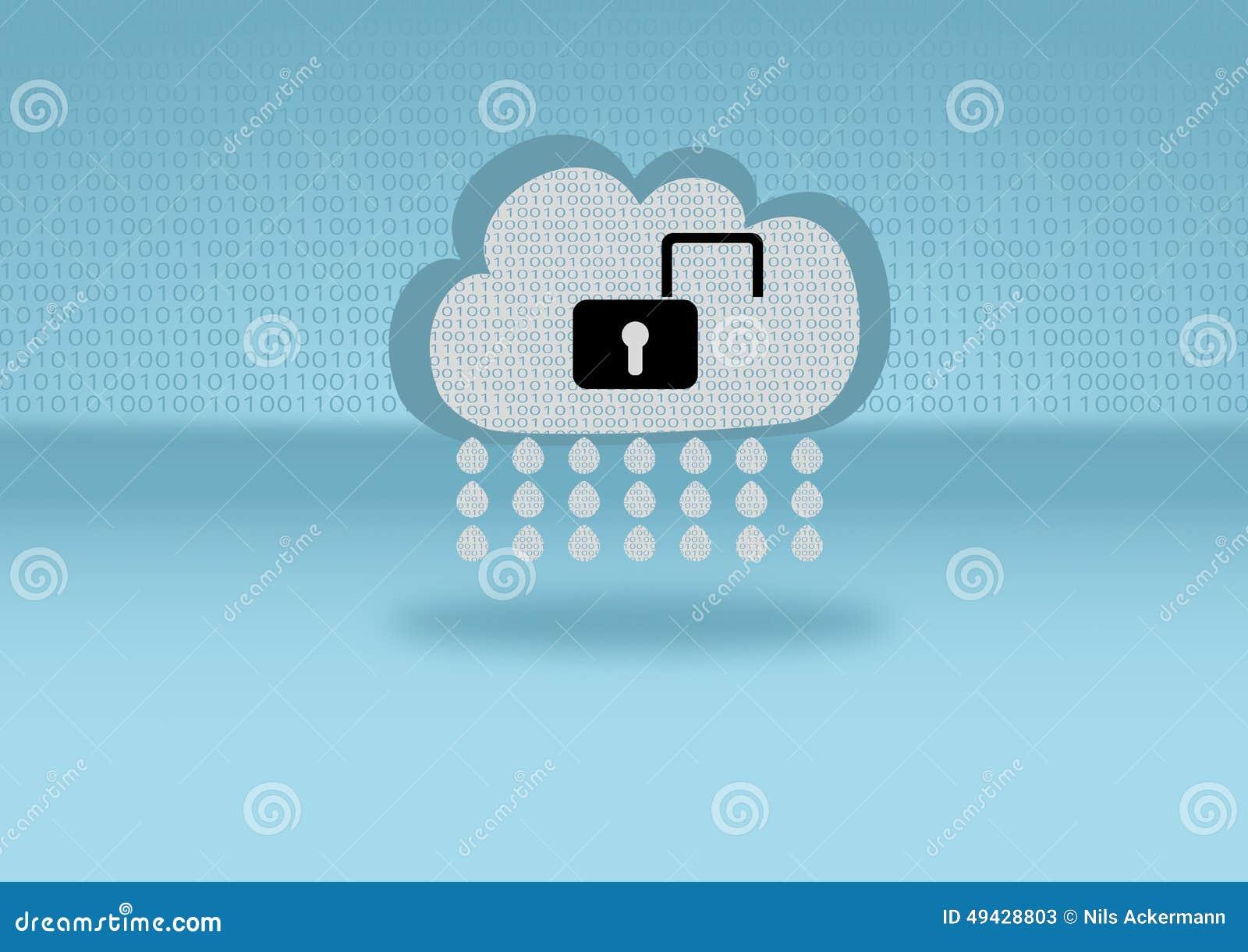 在明锁代表的云彩的数据保密突破口附有在蓝色背景的一朵云彩用平的
