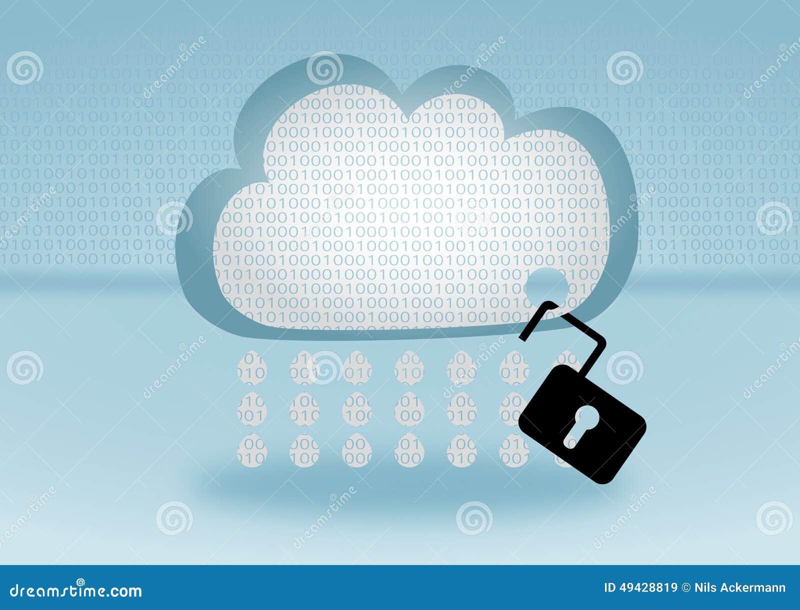 在明锁代表的云彩的数据保密突破口附有在蓝色背景的一朵云彩用平的设