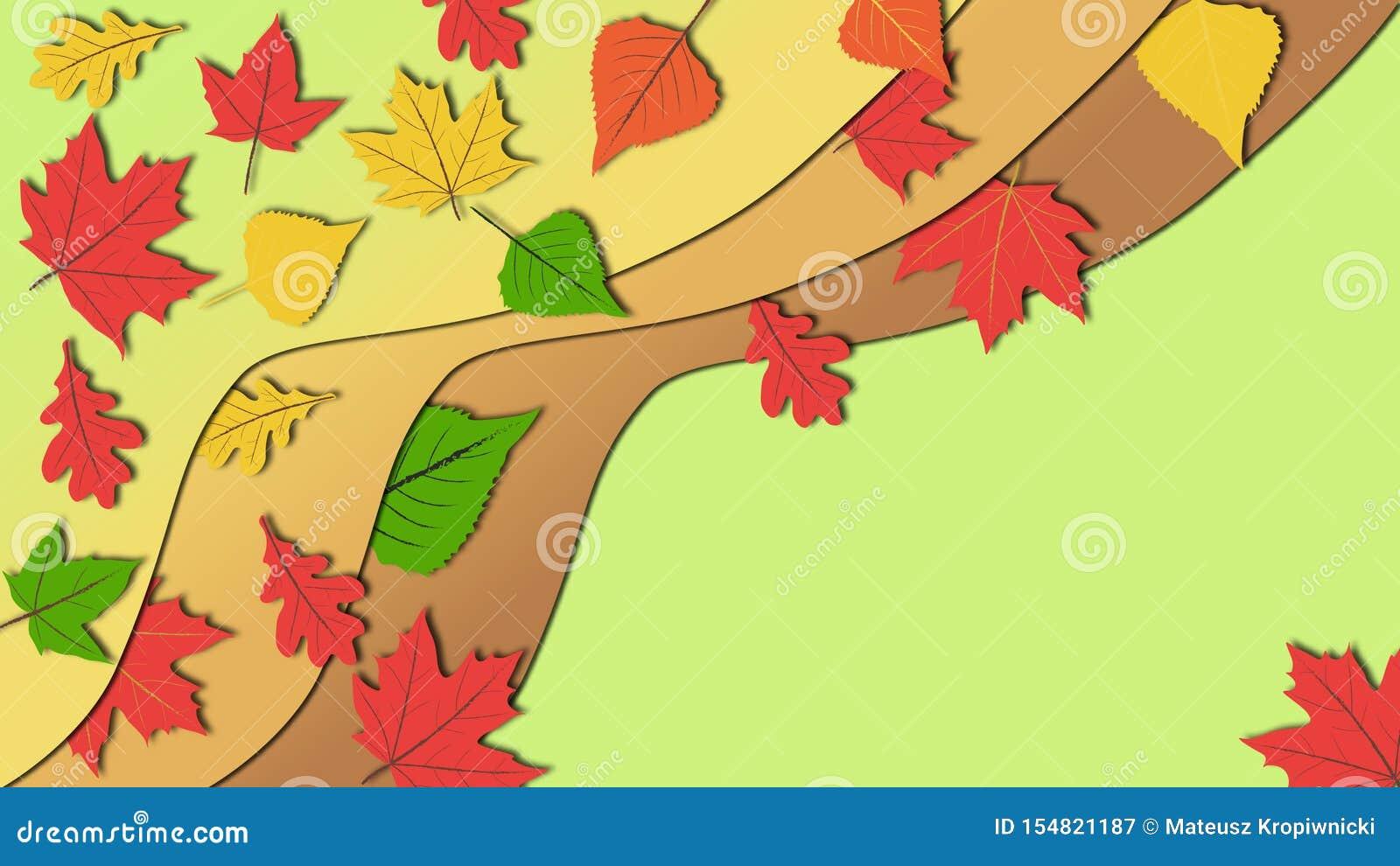 在五颜六色的秋叶微妙和镇静颜色口气的简单的平的设计例证与拷贝空间的