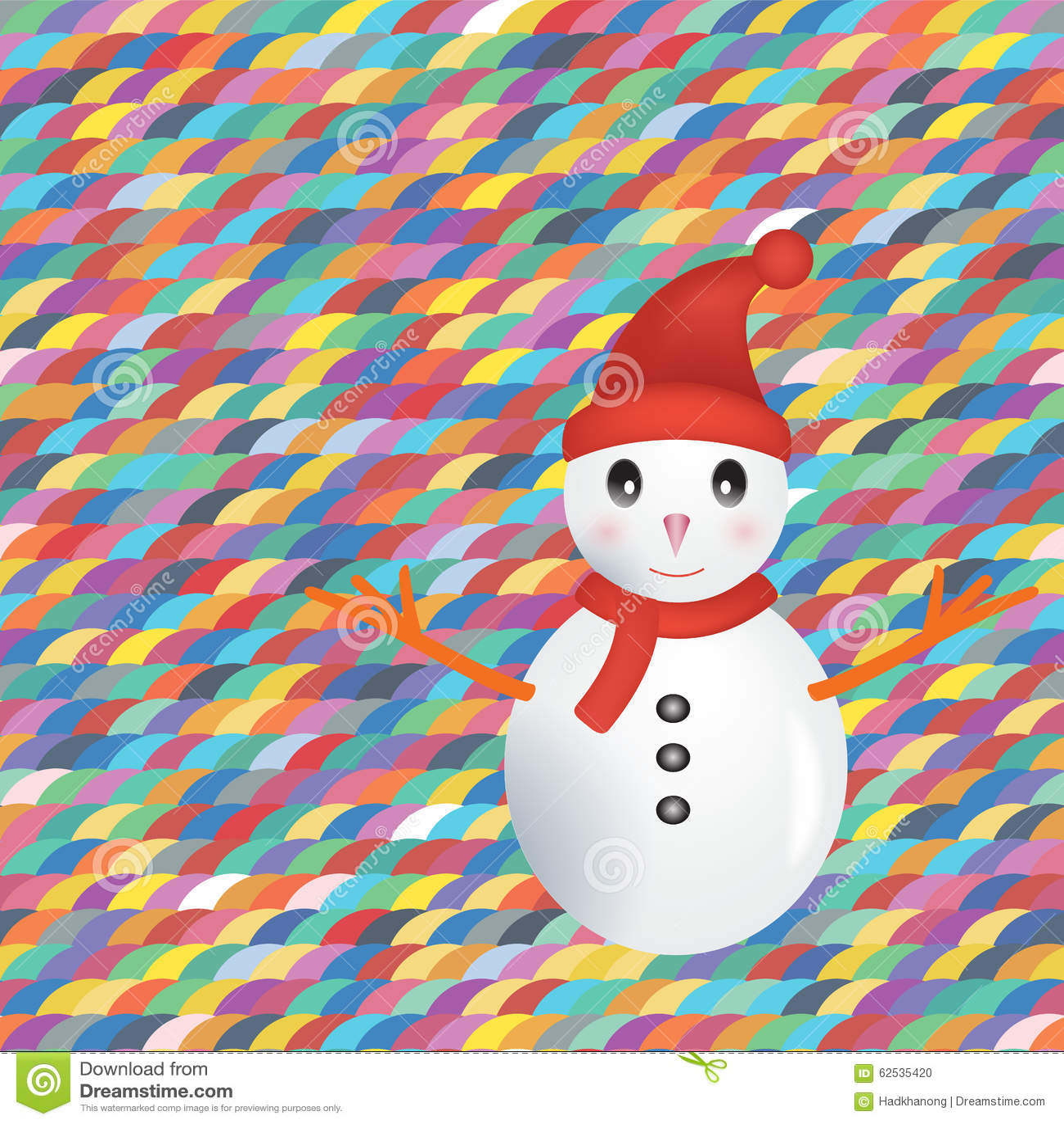 在五颜六色的背景的雪人