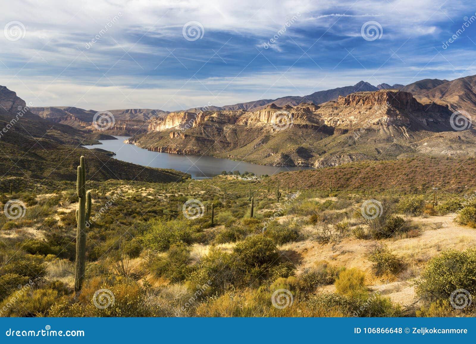 在亚利桑那迷信山的Apache湖风景沙漠风景