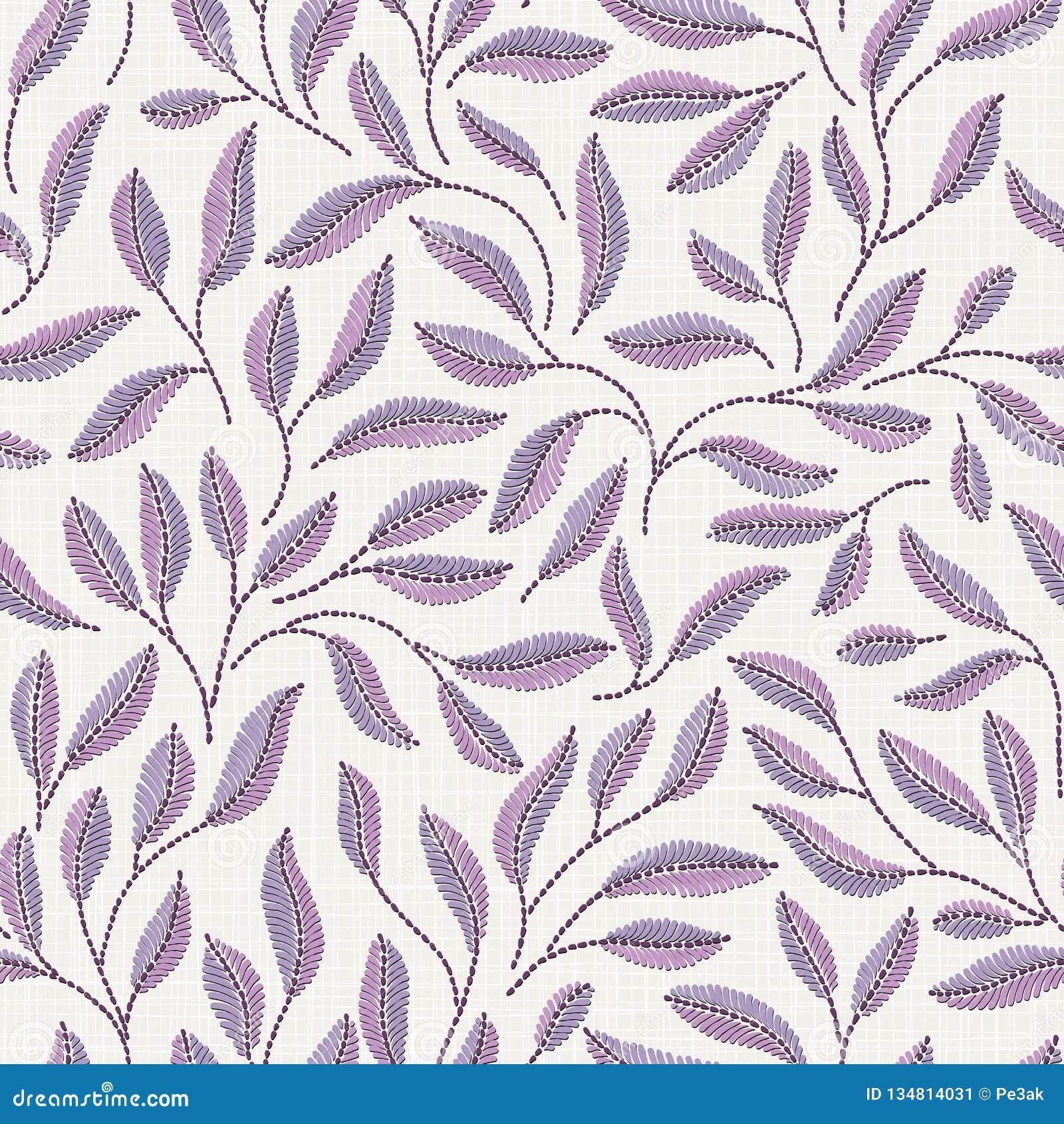在亚麻布纹理的刺绣花卉无缝的样式