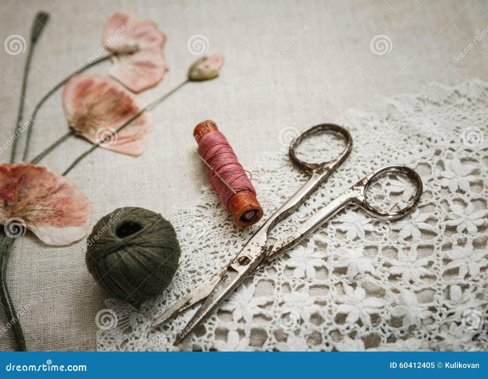 在亚麻布的缝合的工具与鞋带和干燥鸦片看起来刺绣