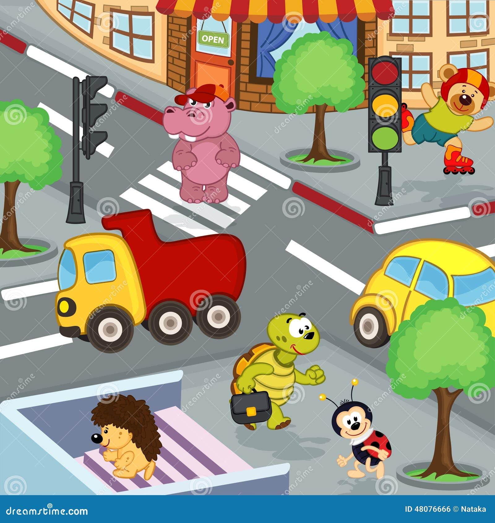 在交叉路的动物