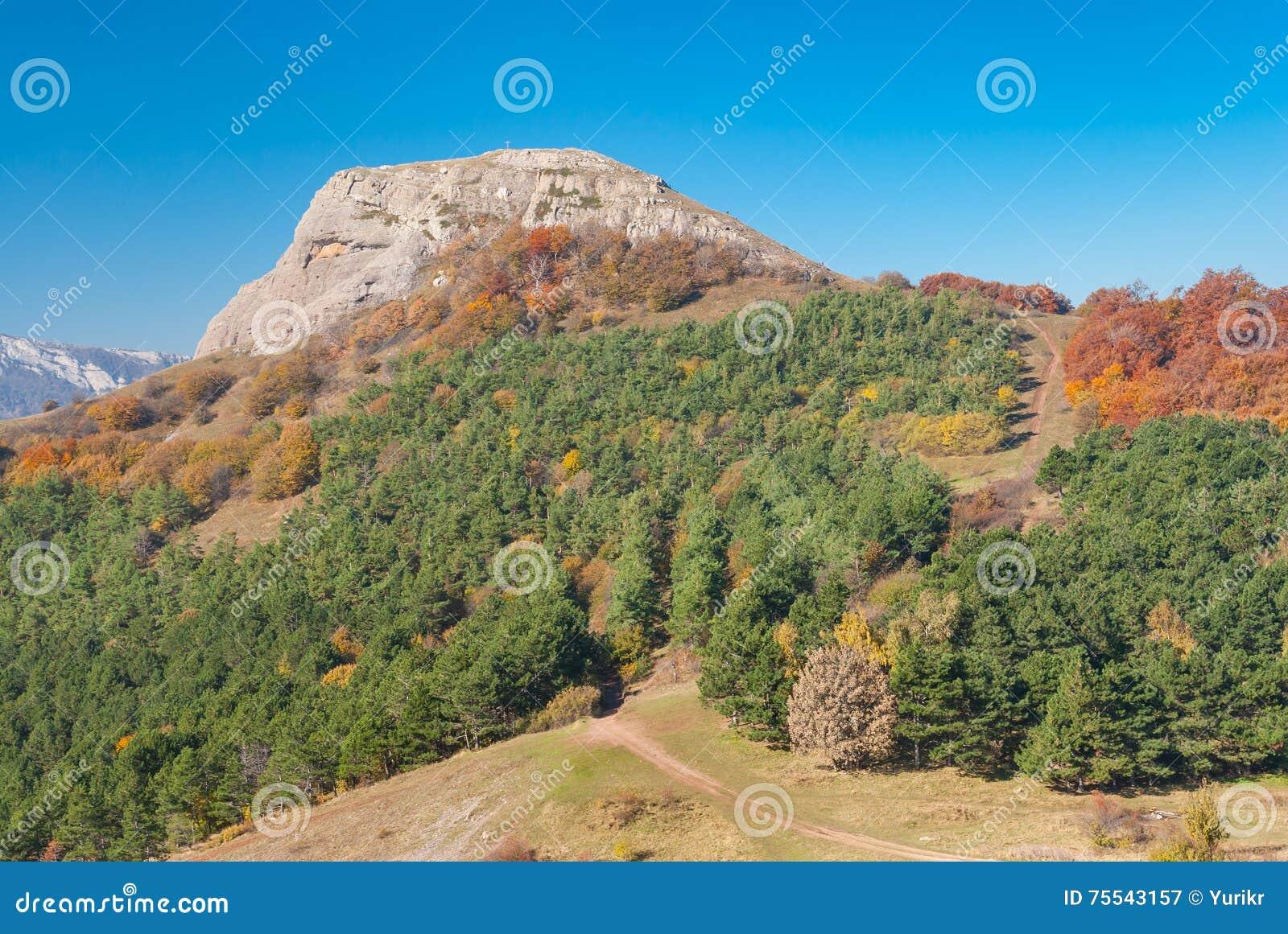 在人沼地的秋天,山牧场地Demerdzhi