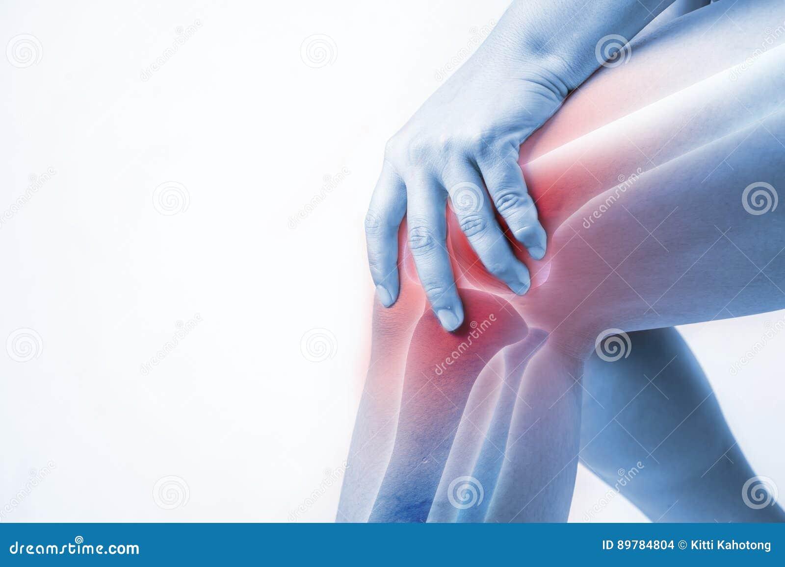 在人的膝伤 膝盖痛苦,医疗关节痛的人,在膝盖的单音口气聚焦