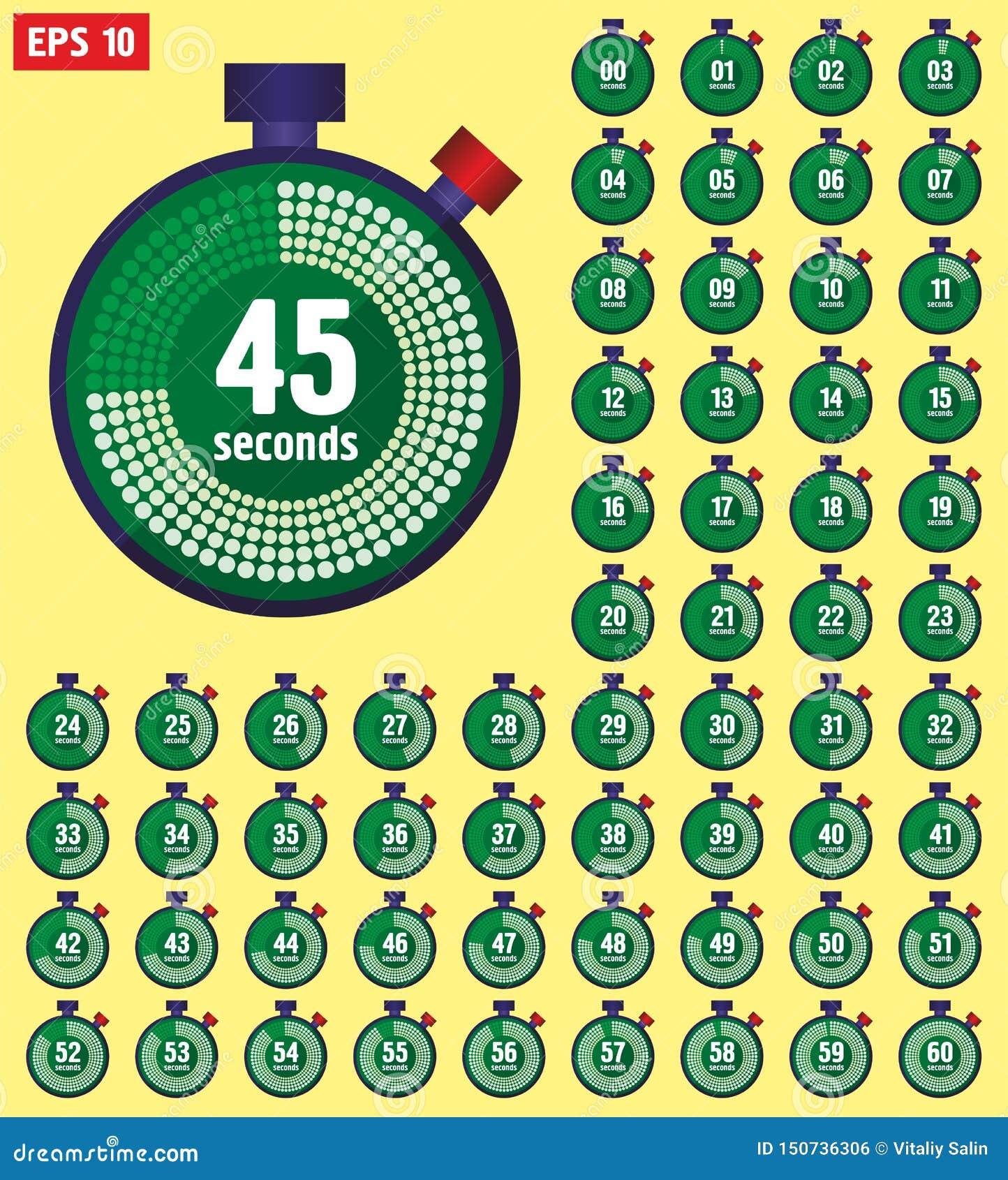 在从0到60,体育速度时钟的平的样式设置的秒表象 时钟定时器0到60秒汇集