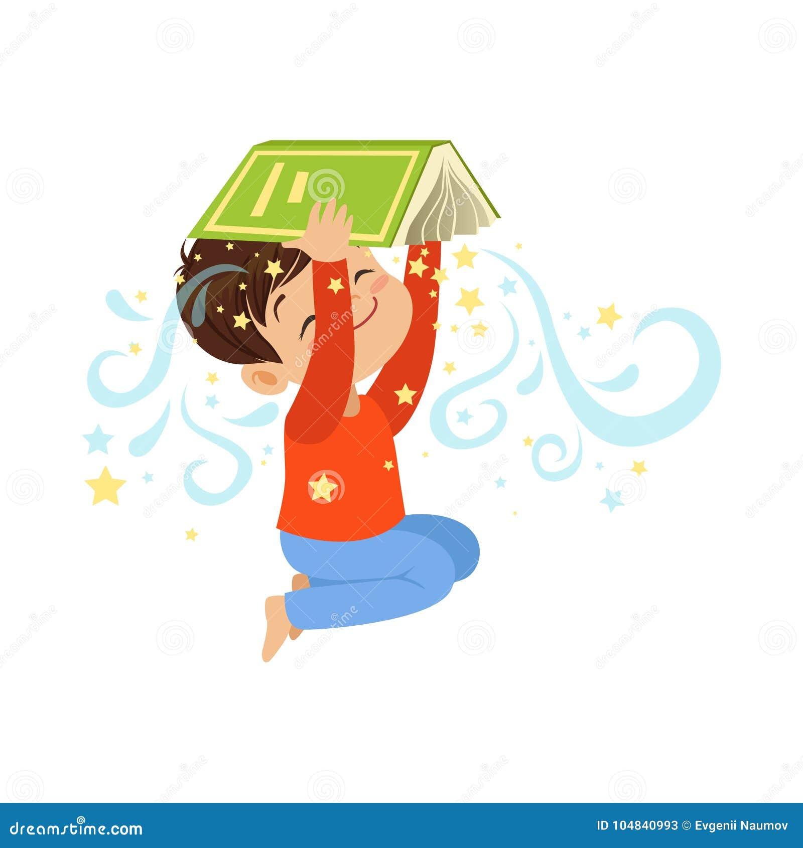 在他的头的动画片小男孩藏品开放不可思议的书 在平的样式的逗人喜爱的孩子字符 儿童想象力和