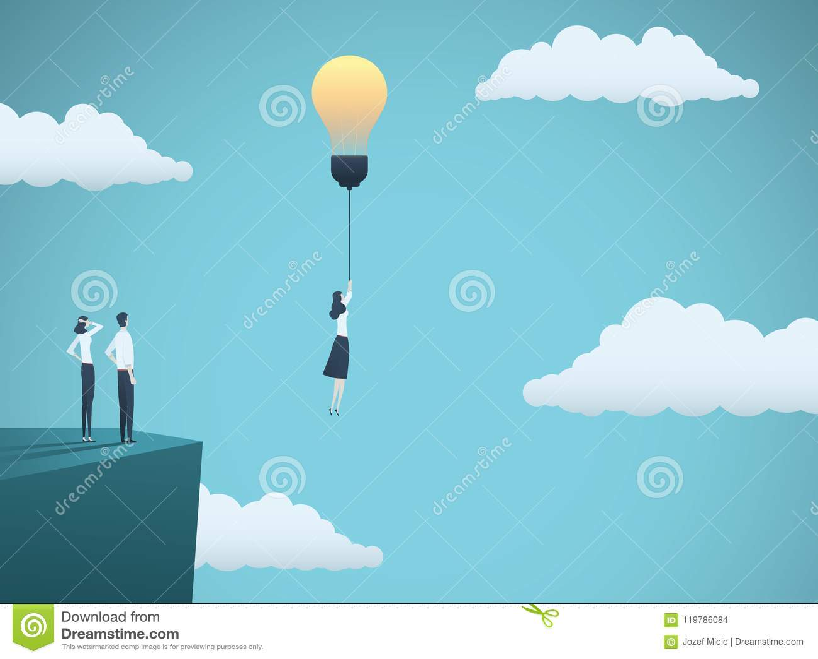 在企业传染媒介概念的创造性的想法与飞行与ligthbulb的女实业家 创造性,启发的标志