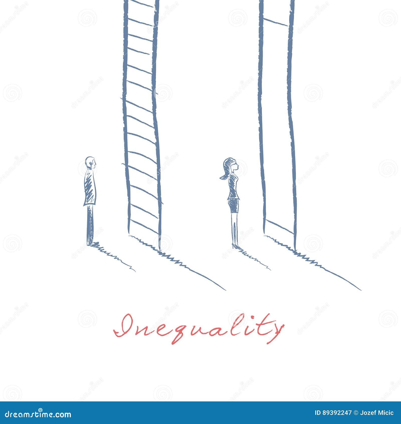 在企业概念的性别问题与站立在事业公司梯子前面的商人和女实业家