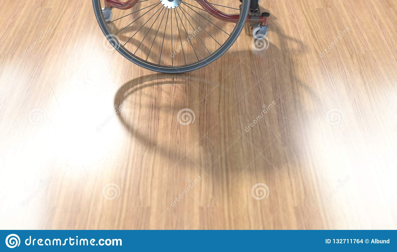 在优美的木地板上的体育轮椅
