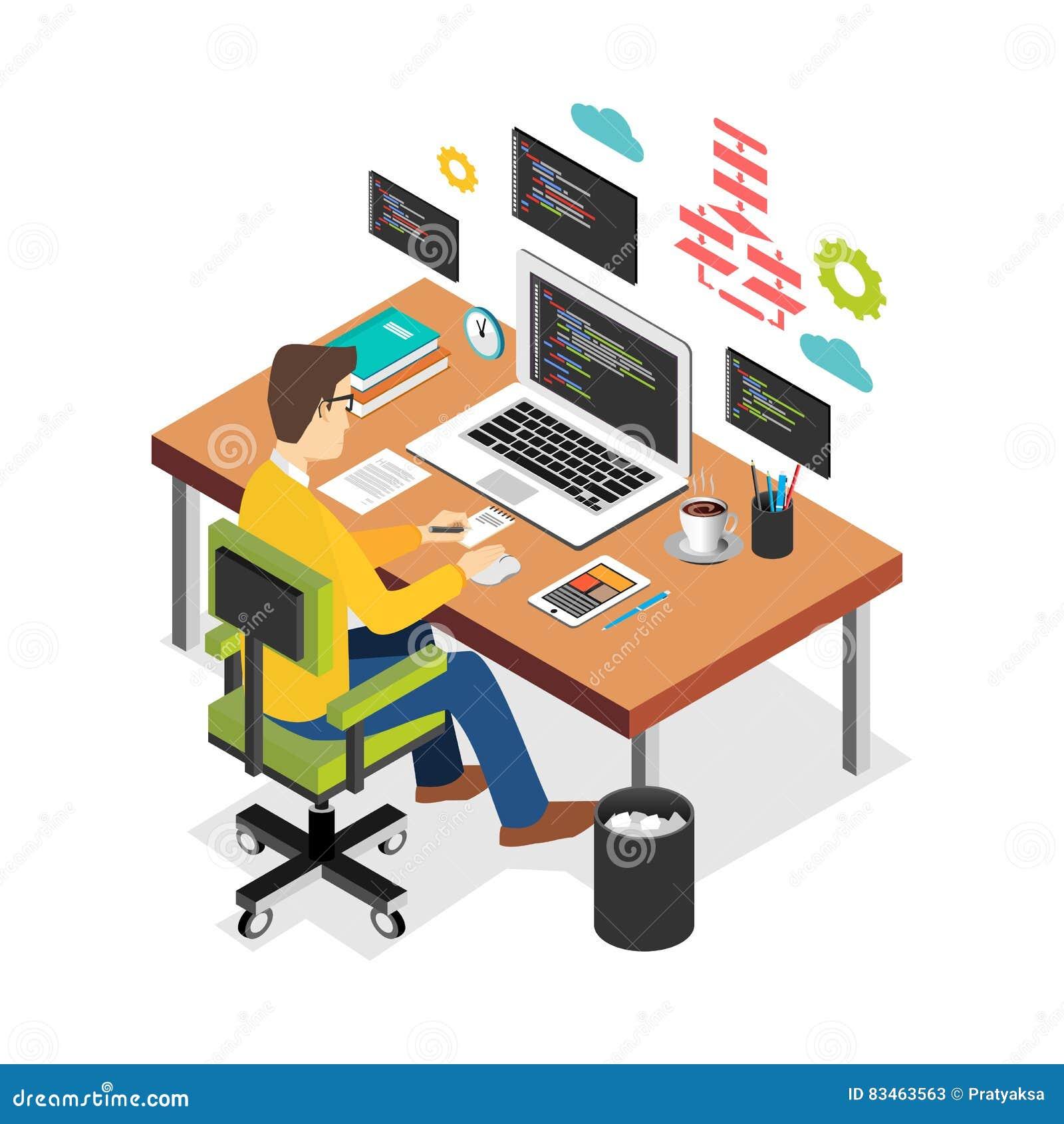 在便携式计算机上的专业程序设计者运作的文字代码在书桌 程序员开发商工作场所 平的3d等量technol