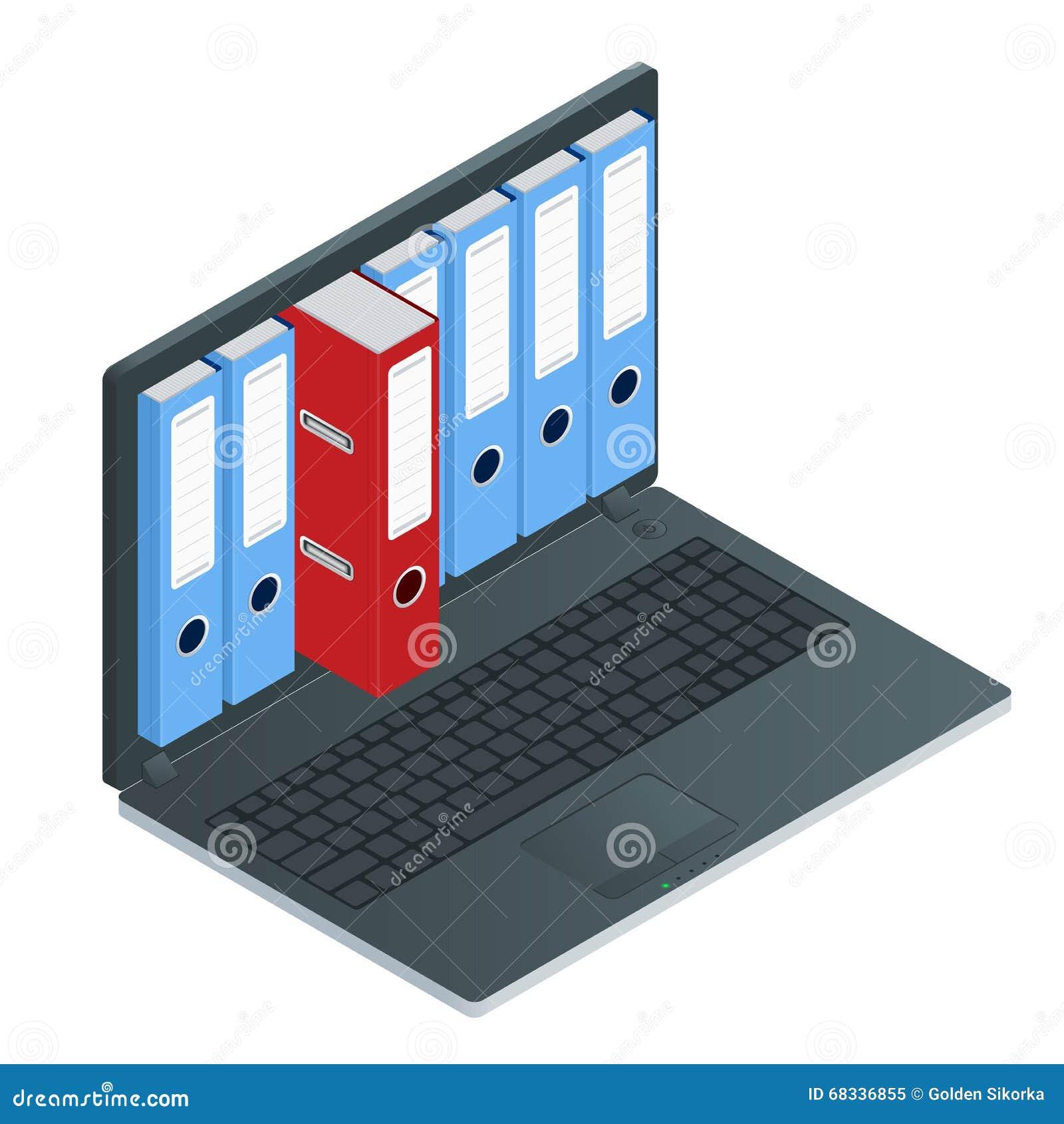 在便携式计算机里面屏幕的文件柜  膝上型计算机和文件柜 数据存储3d等量例证