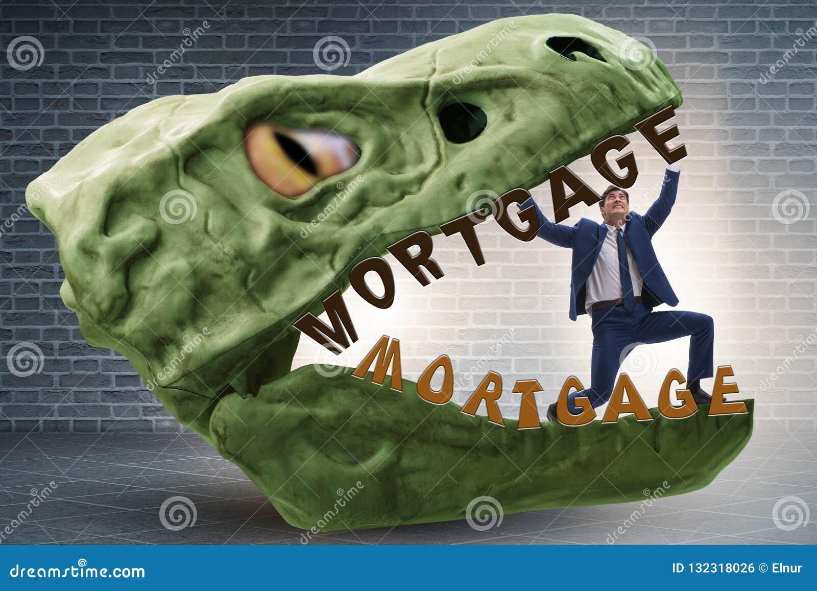 在债务和贷款的下颌的商人