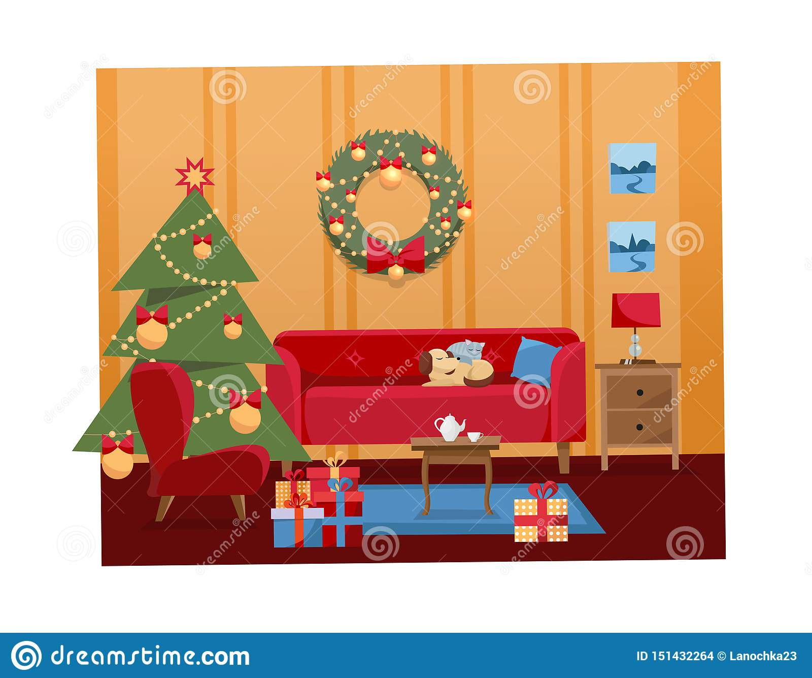 在假日装饰的客厅的圣诞节平的动画片传染媒介内部例证 舒适温暖的家内部与家具