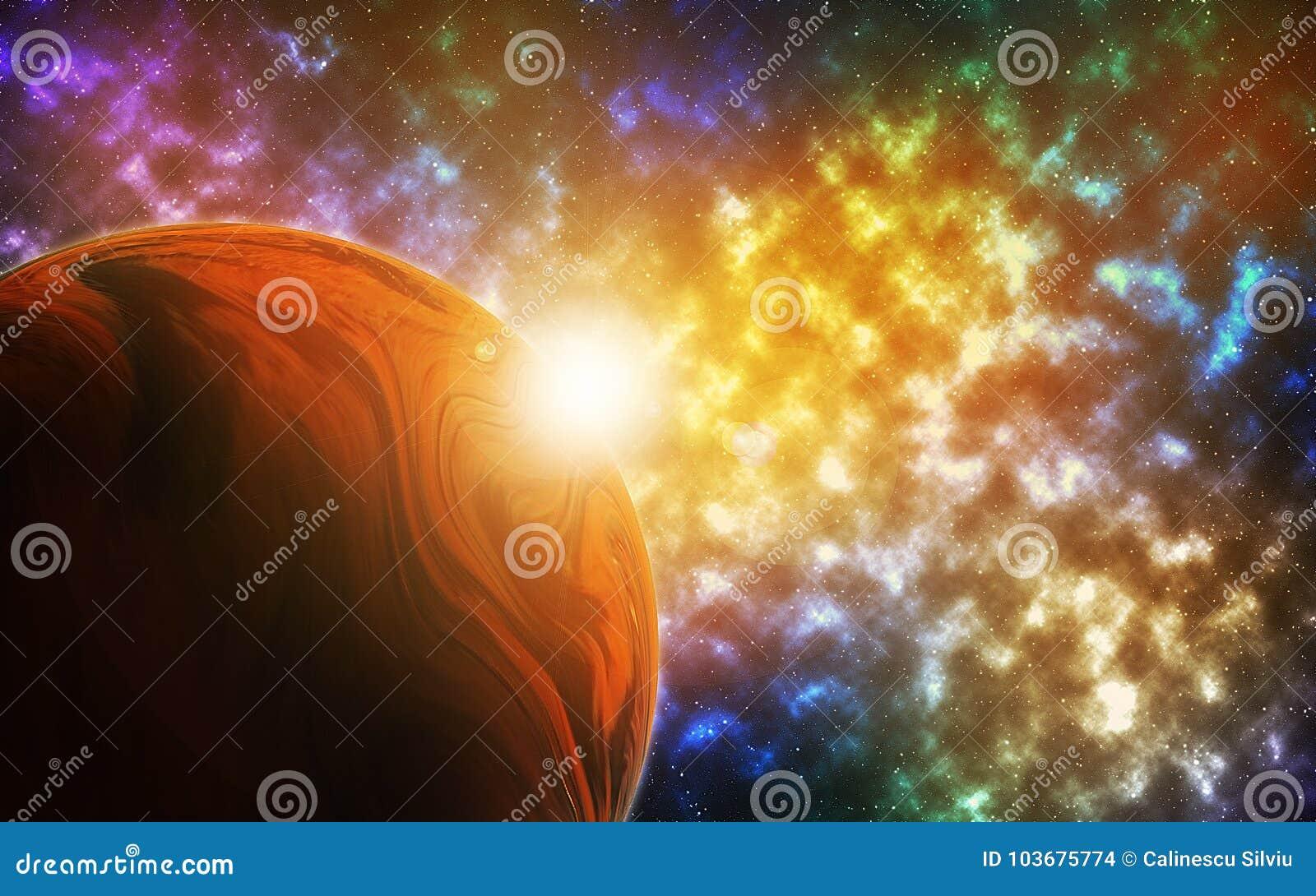 在充满活力的天空的行星