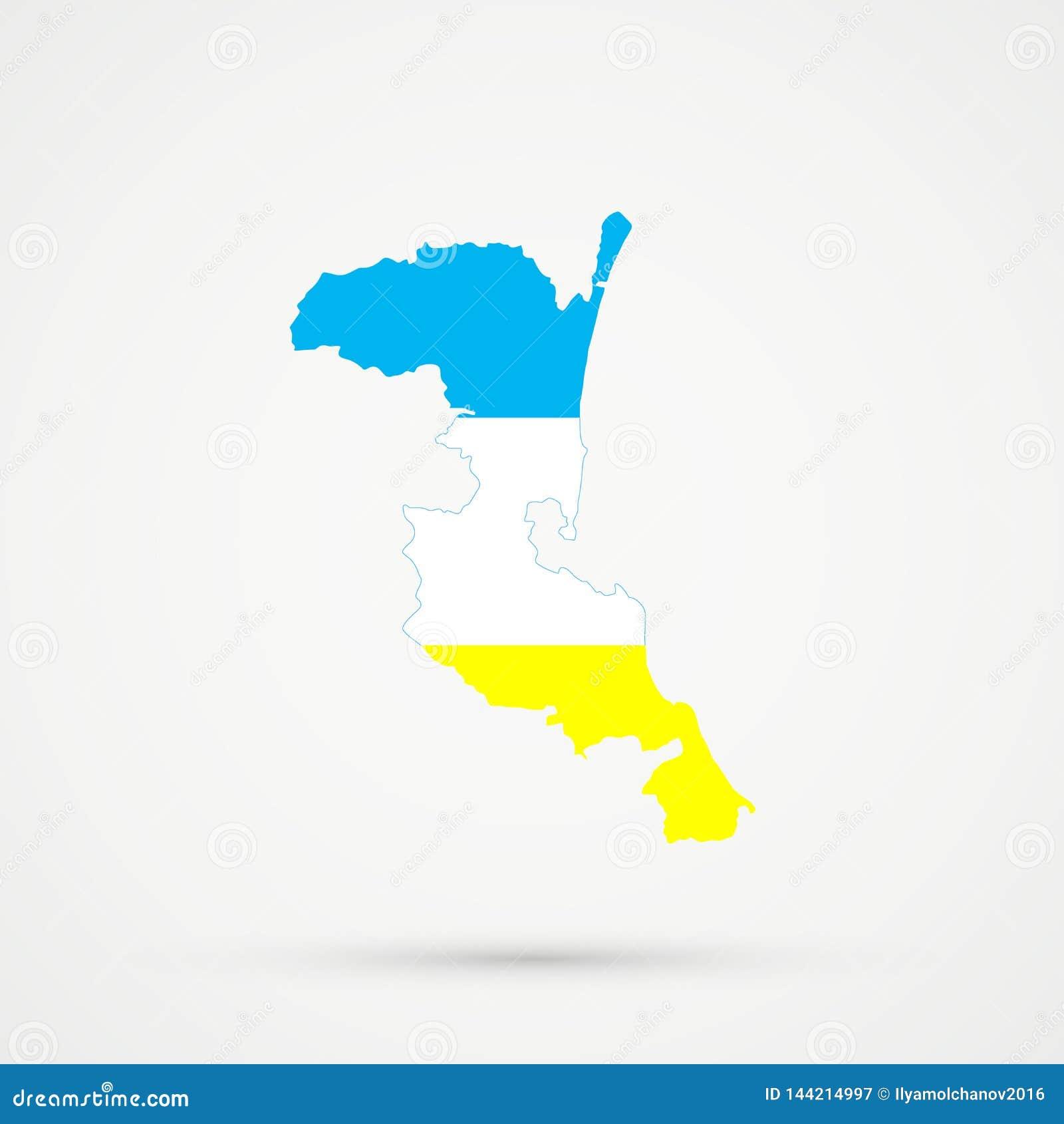 在克里米亚半岛Karaites族群旗子颜色的Kumykia达吉斯坦地图,编辑可能的传染媒介
