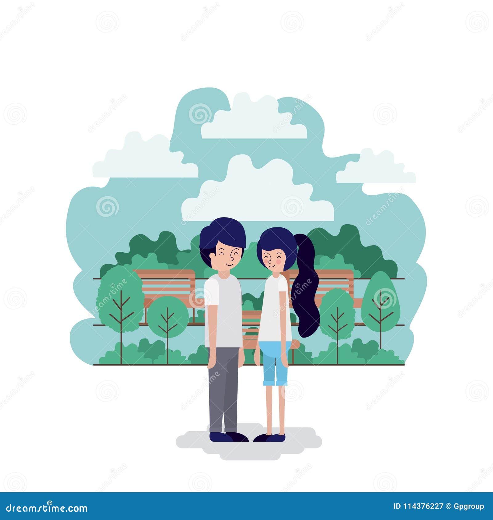 在公园场面的夫妇与椅子