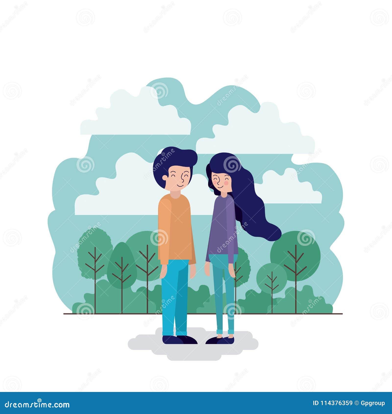 在公园场面的夫妇