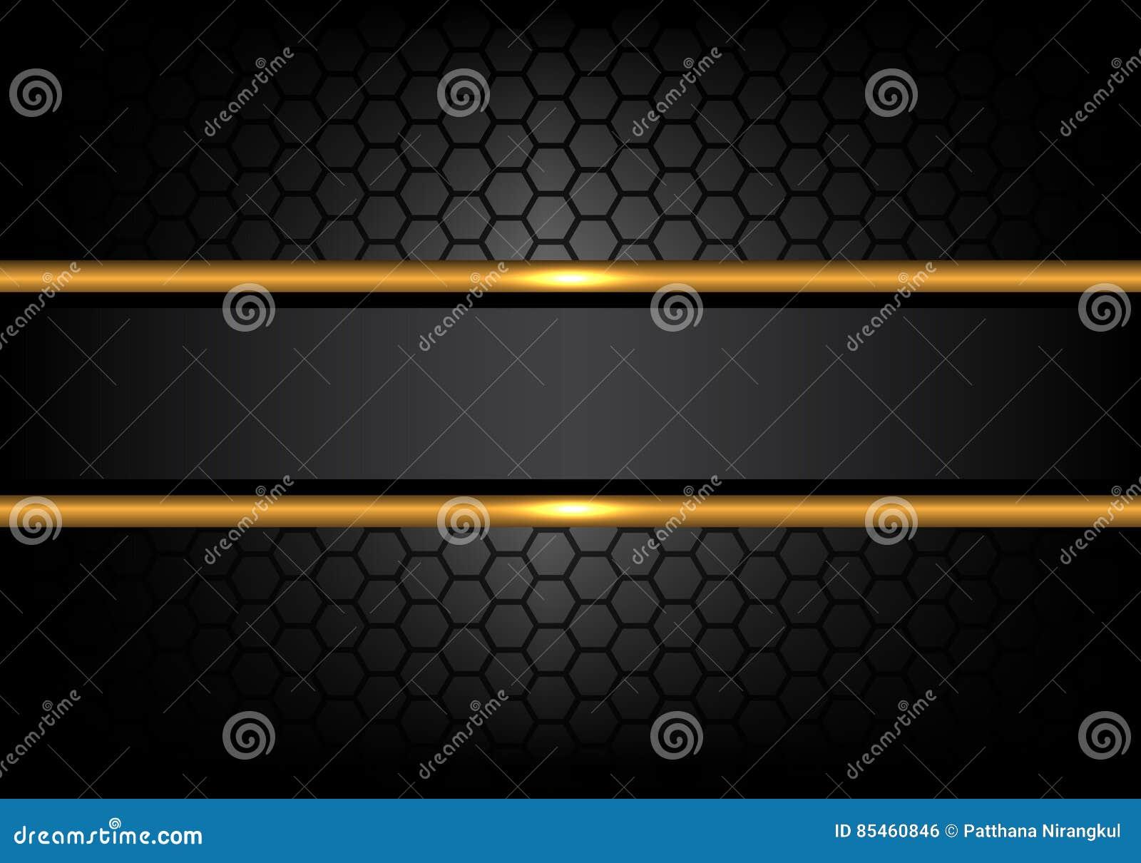 在六角形滤网样式设计现代豪华背景传染媒介的抽象黑金线横幅
