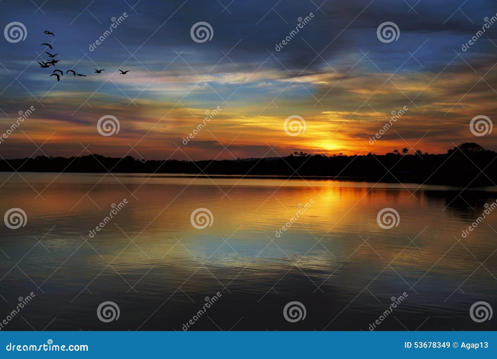 在内格罗河的日落