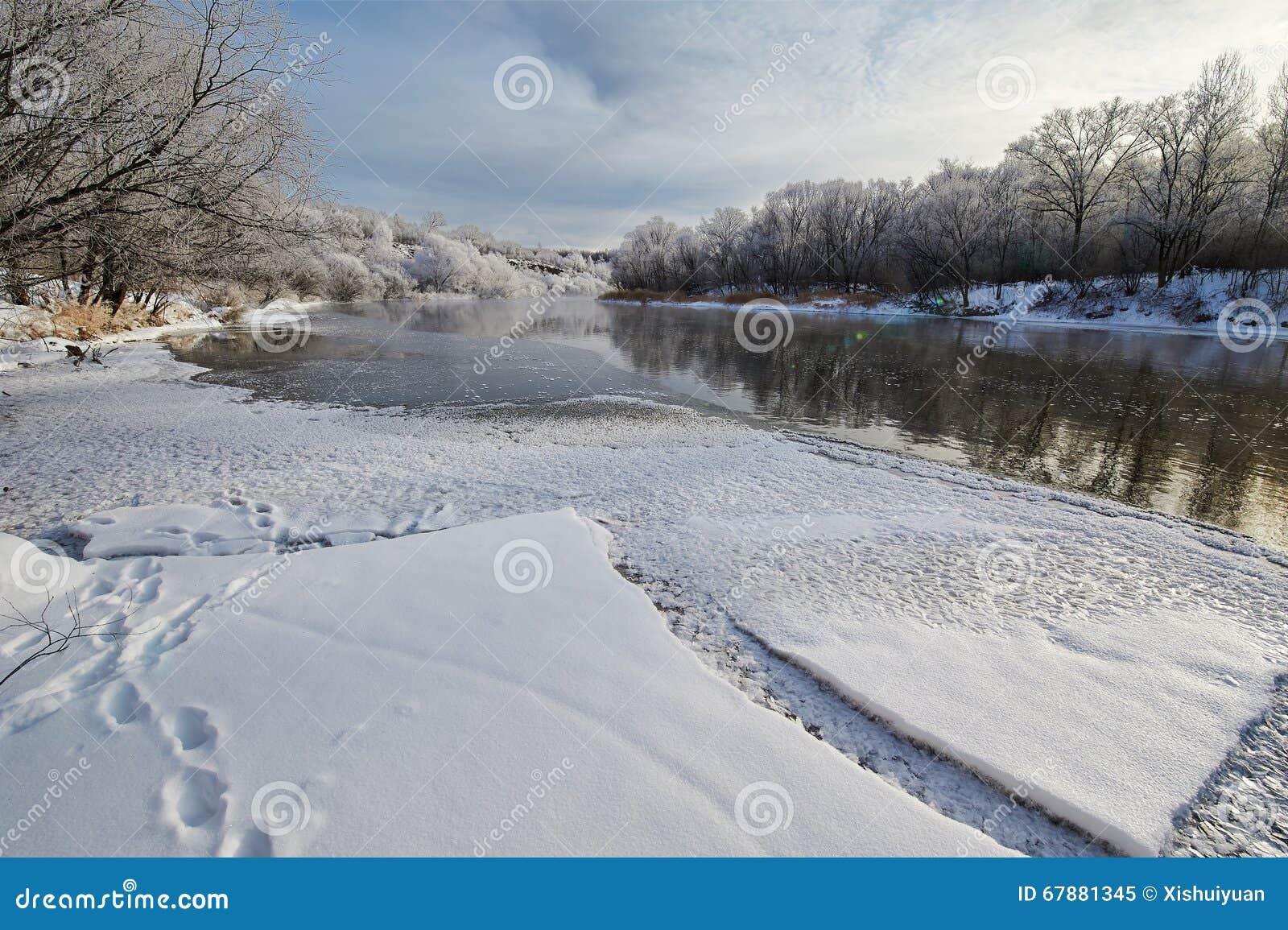 在冬天河的冰川