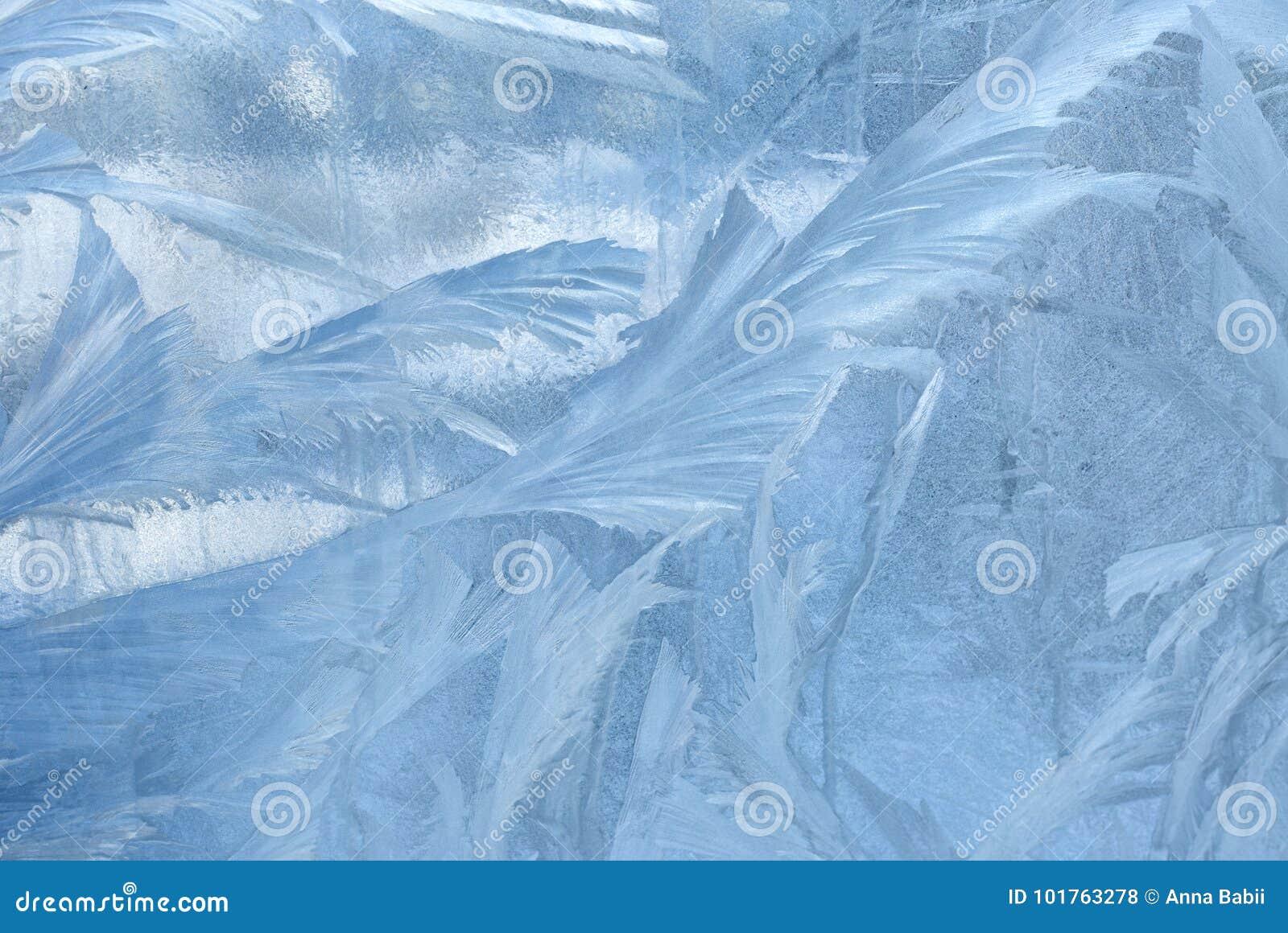 在冬天玻璃的冰模式 圣诞节结冰的背景 定调子作用的冬天