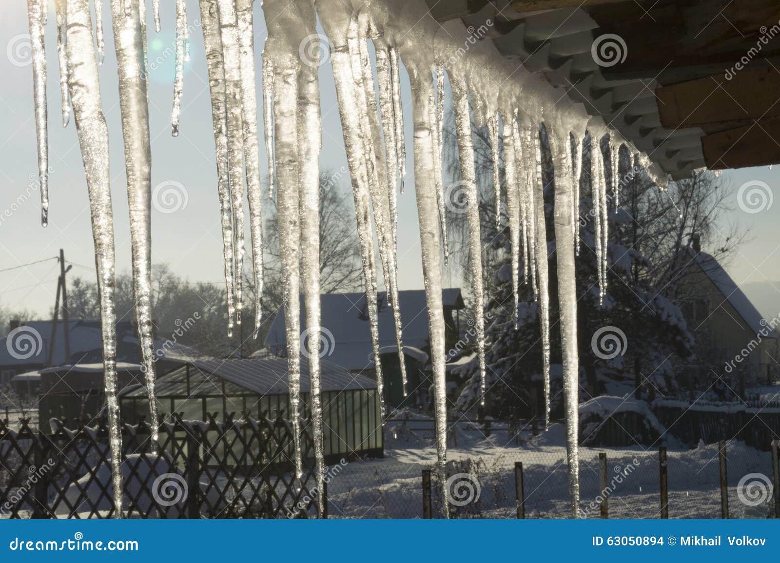冰柱垂悬从房子的房檐的,早期的冬天 西西伯利亚.