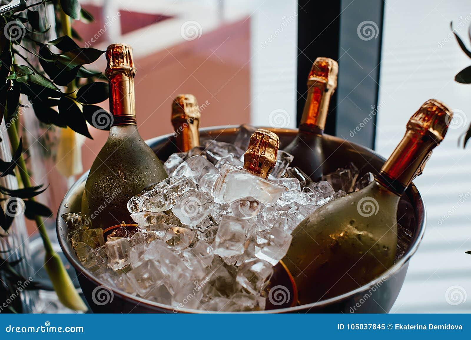 在冰桶的五个酒瓶冷颤