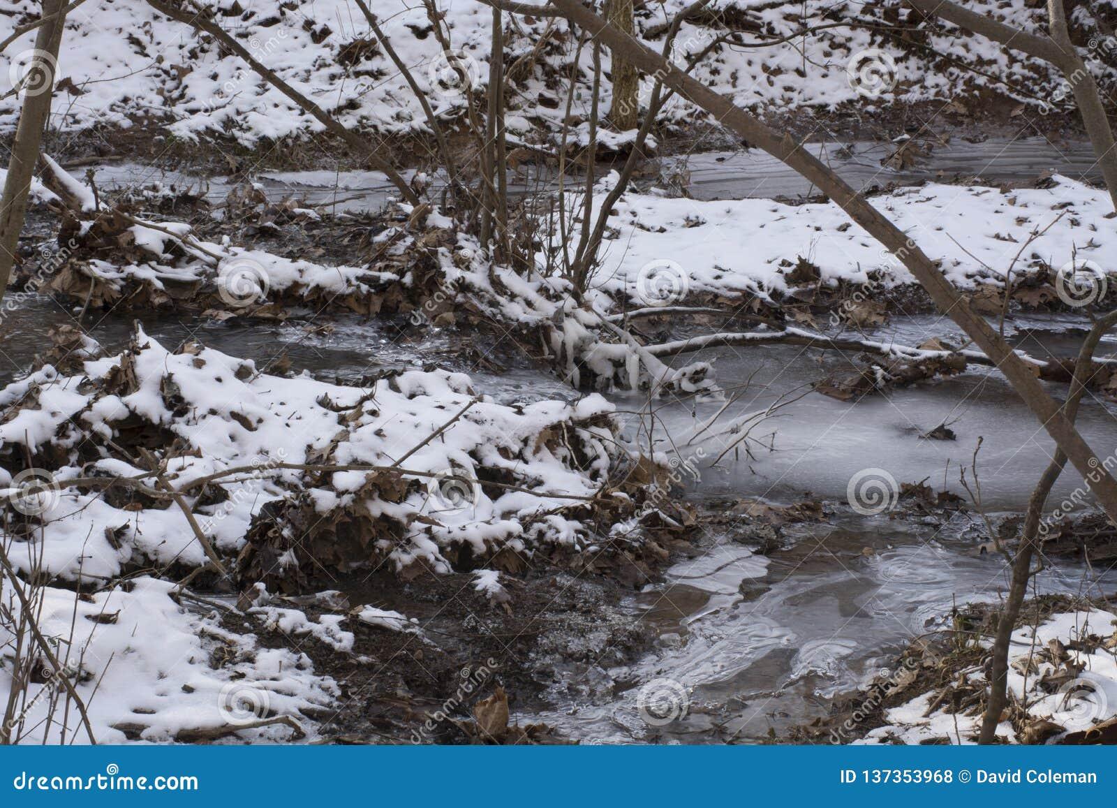 在冻结的冬天风景的小河