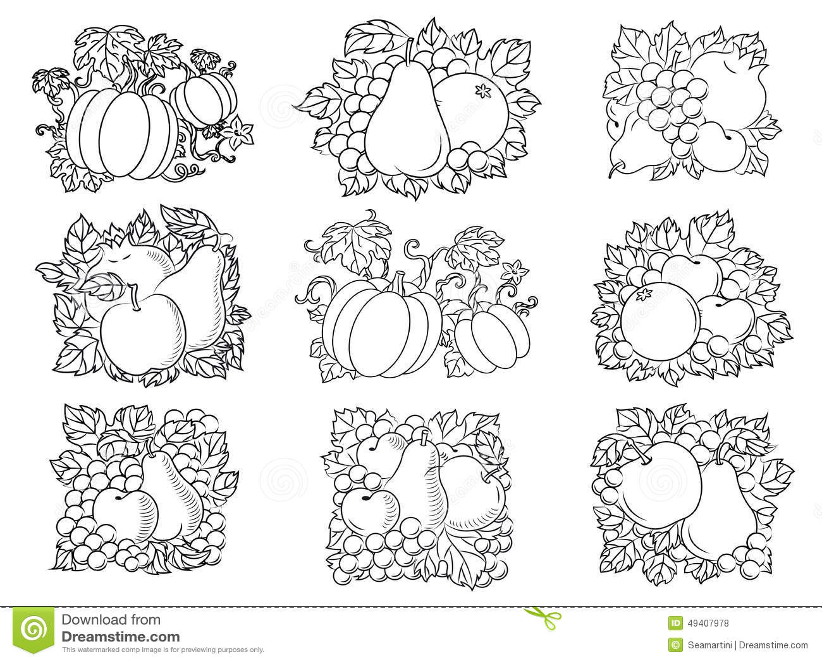 减速火箭的剪影水果和蔬菜结构的新鲜的苹果,梨,南瓜,石榴,杏子,桔子图片
