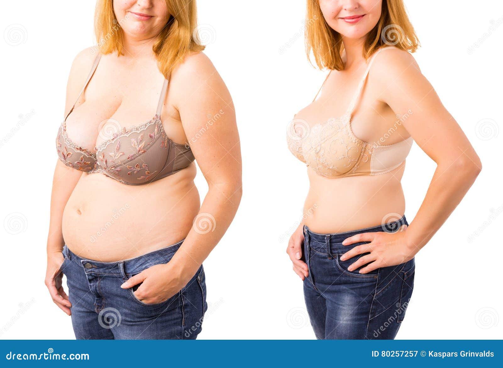 在减重前后的妇女