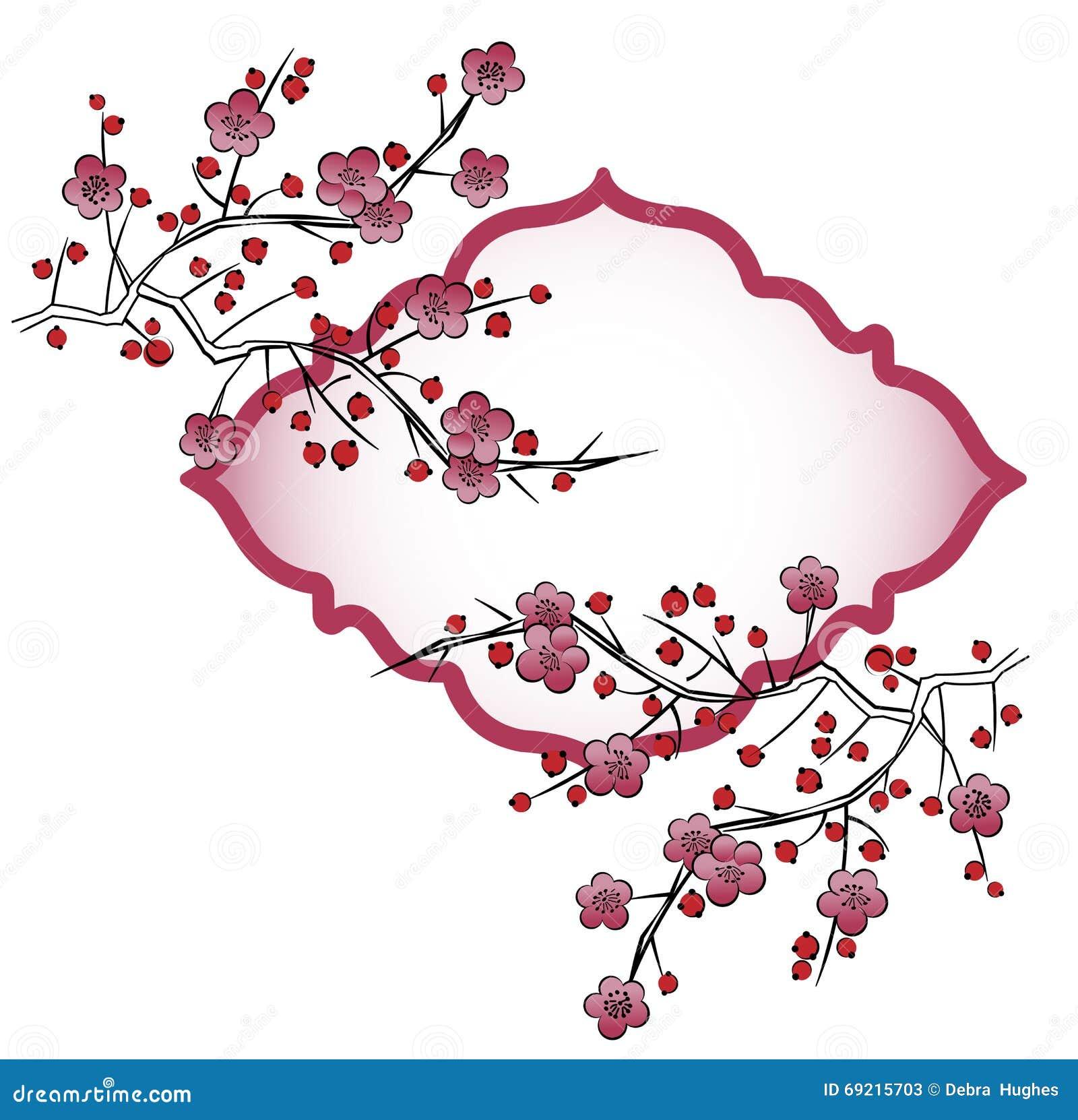 在分支的日本花瓣
