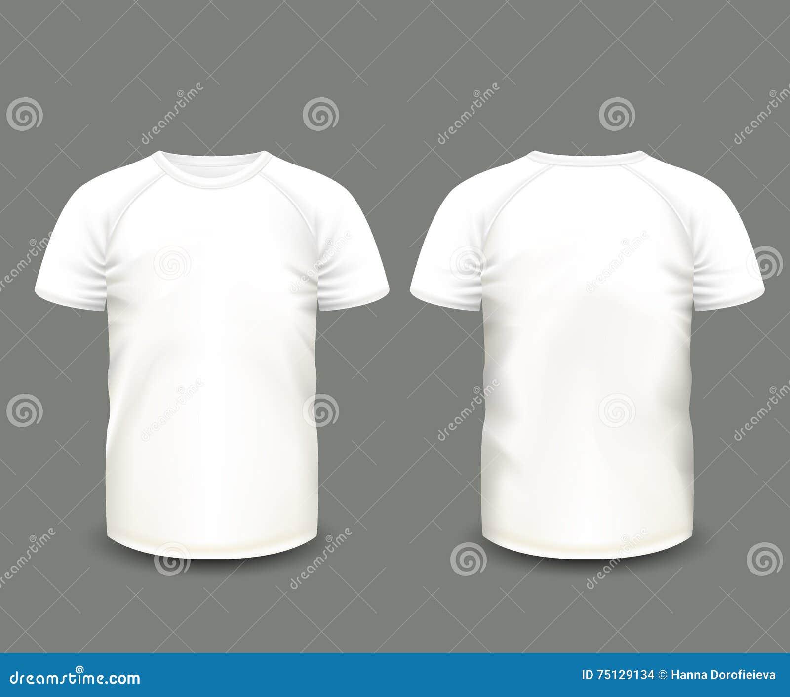 在前面和后面看法的人的白色套袖大衣T恤杉 边界月桂树离开橡木丝带模板向量 充分地编辑可能的手工制造滤网