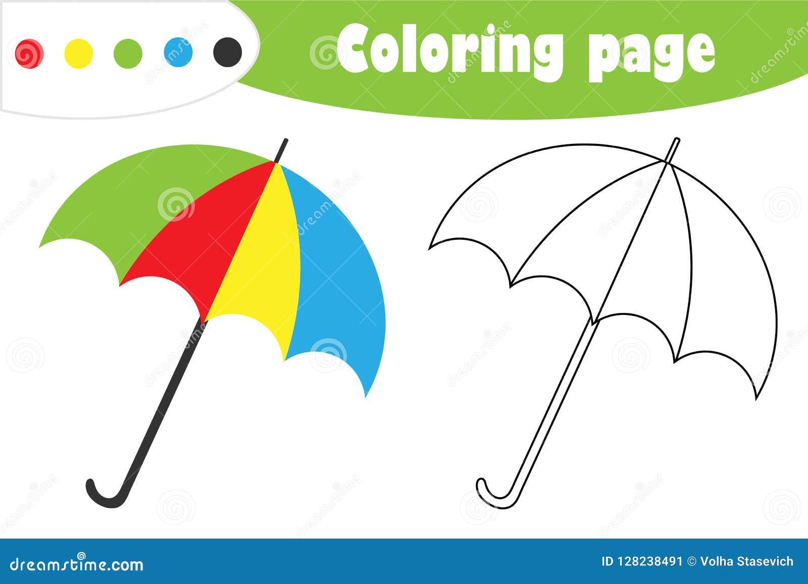 在动画片样式的伞,秋天着色页,孩子的发展的教育纸比赛,哄骗学龄前活动, PR