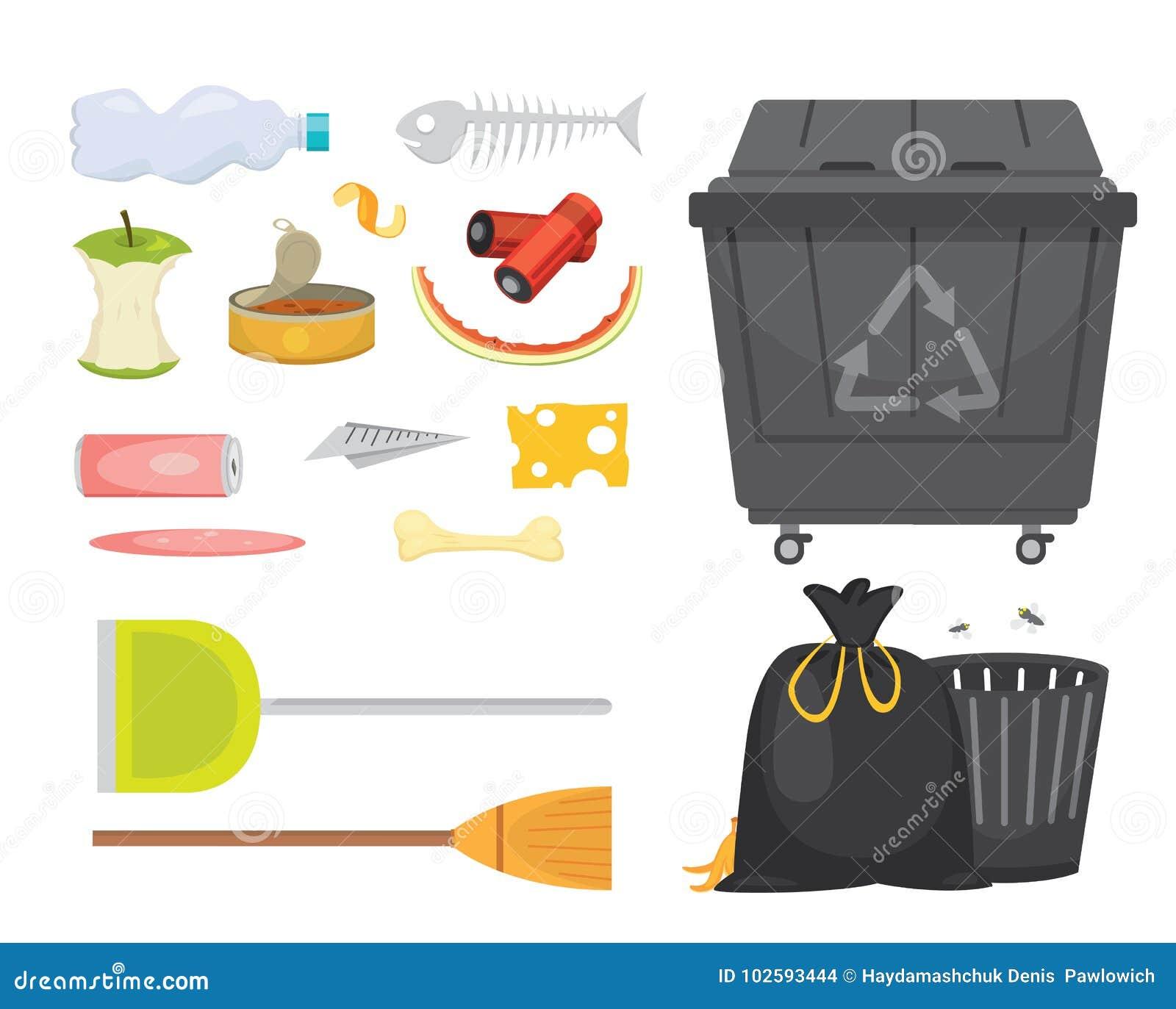 在动画片样式的垃圾和垃圾集合例证