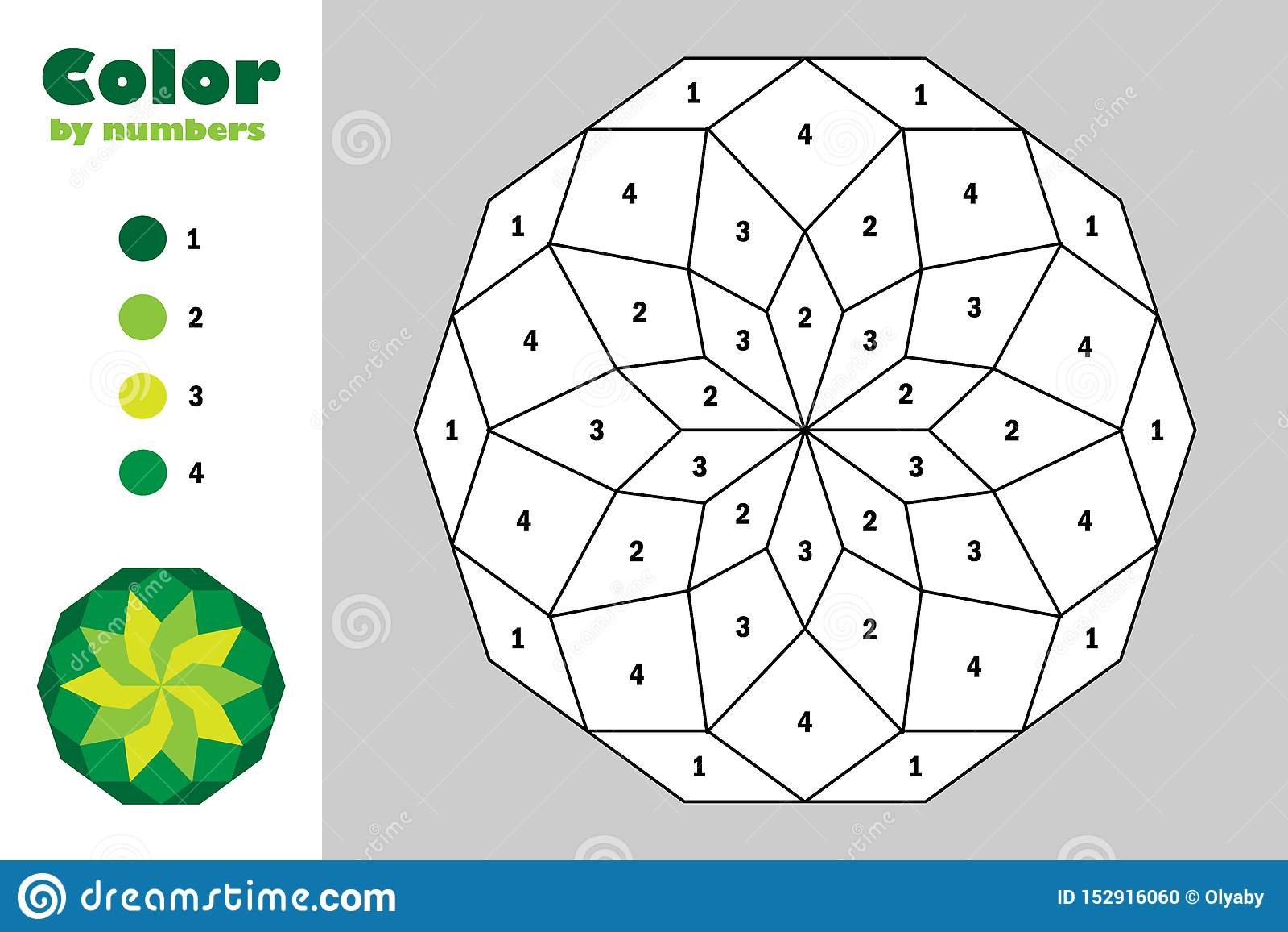 在动画片样式,由数字,教育孩子的发展的,上色页,孩子纸比赛的颜色的绿色坛场