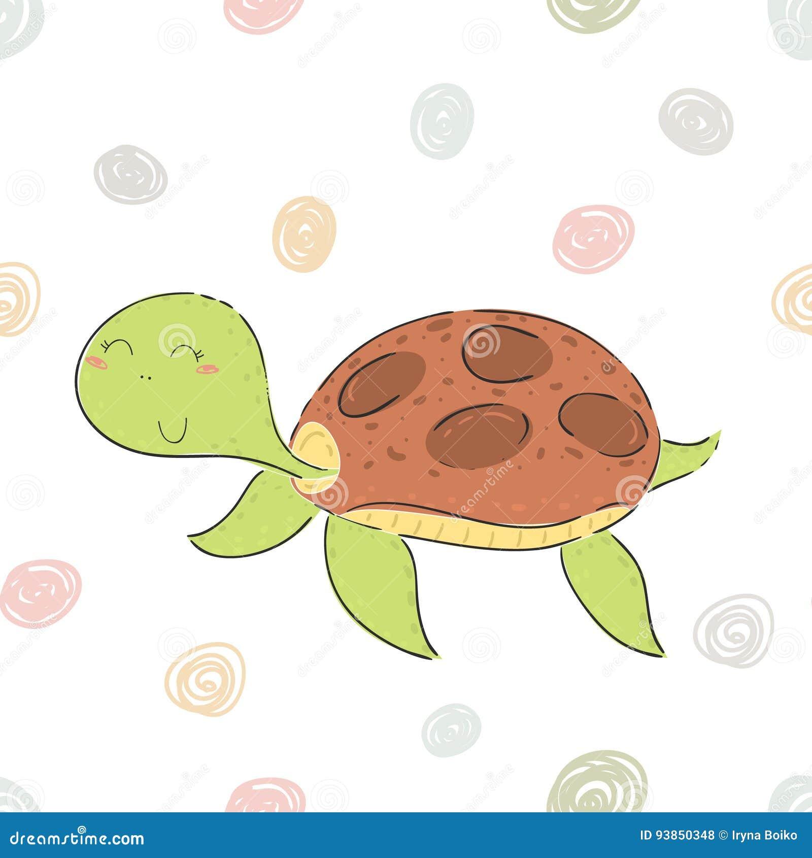 在动画片样式的滑稽的乌龟印刷品