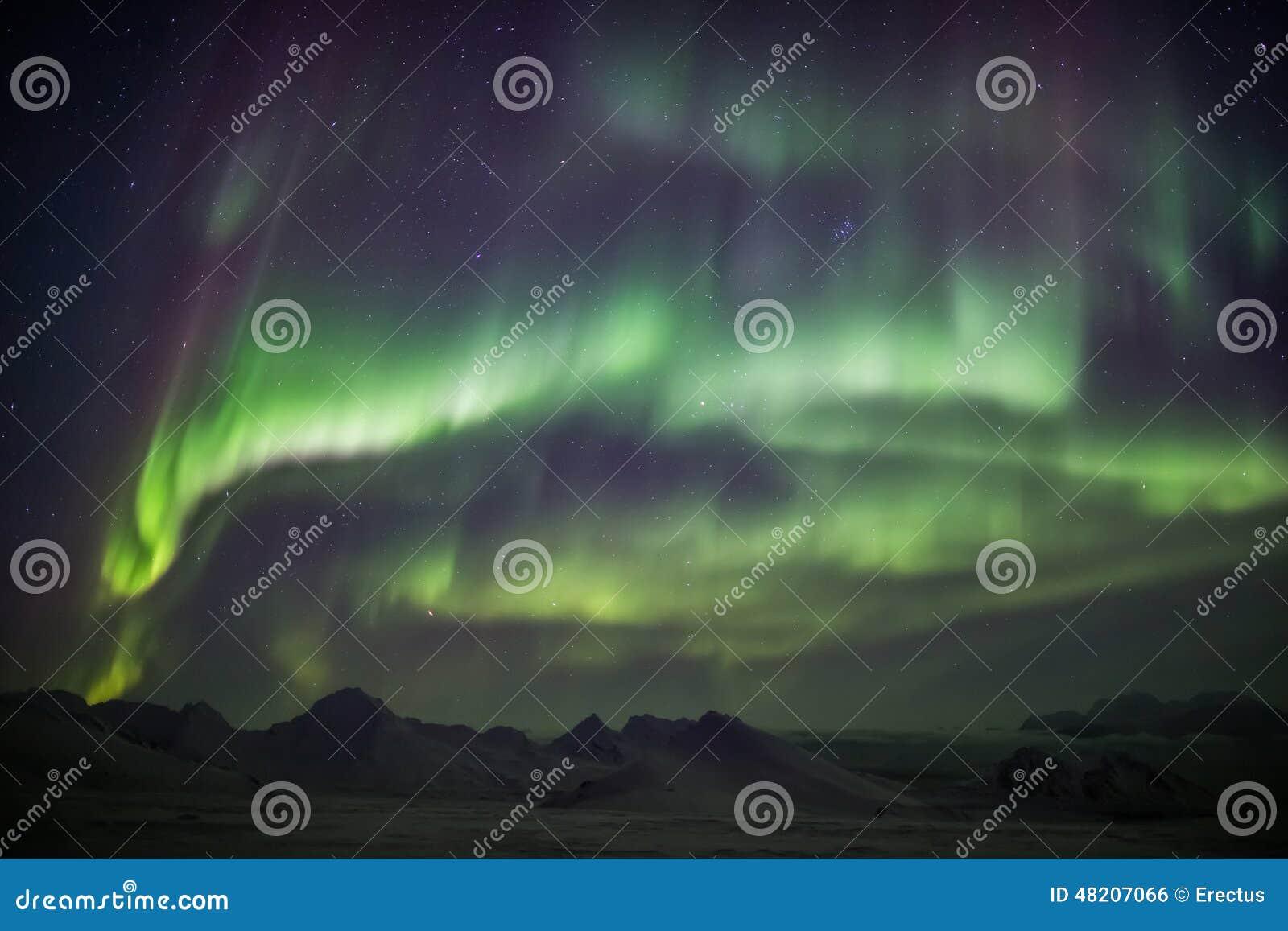 在北极天空-斯瓦尔巴特群岛的北极光