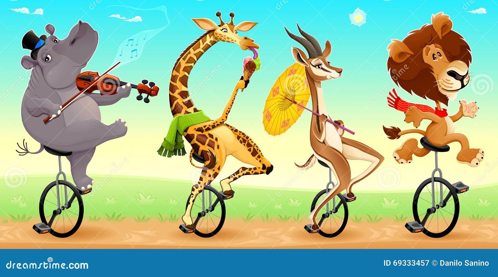 在单轮脚踏车的滑稽的野生动物