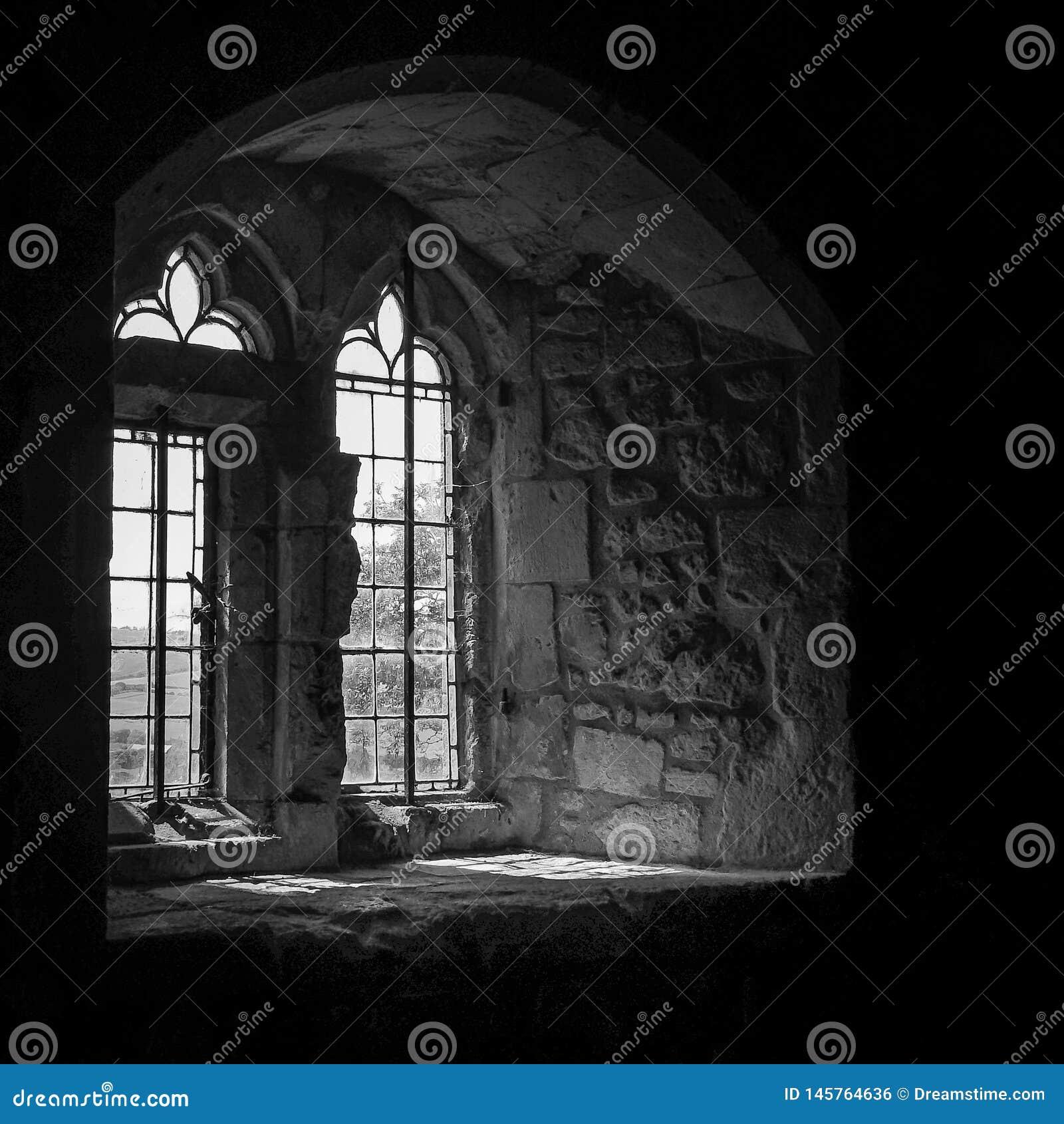 在单音的城堡窗口与阳光