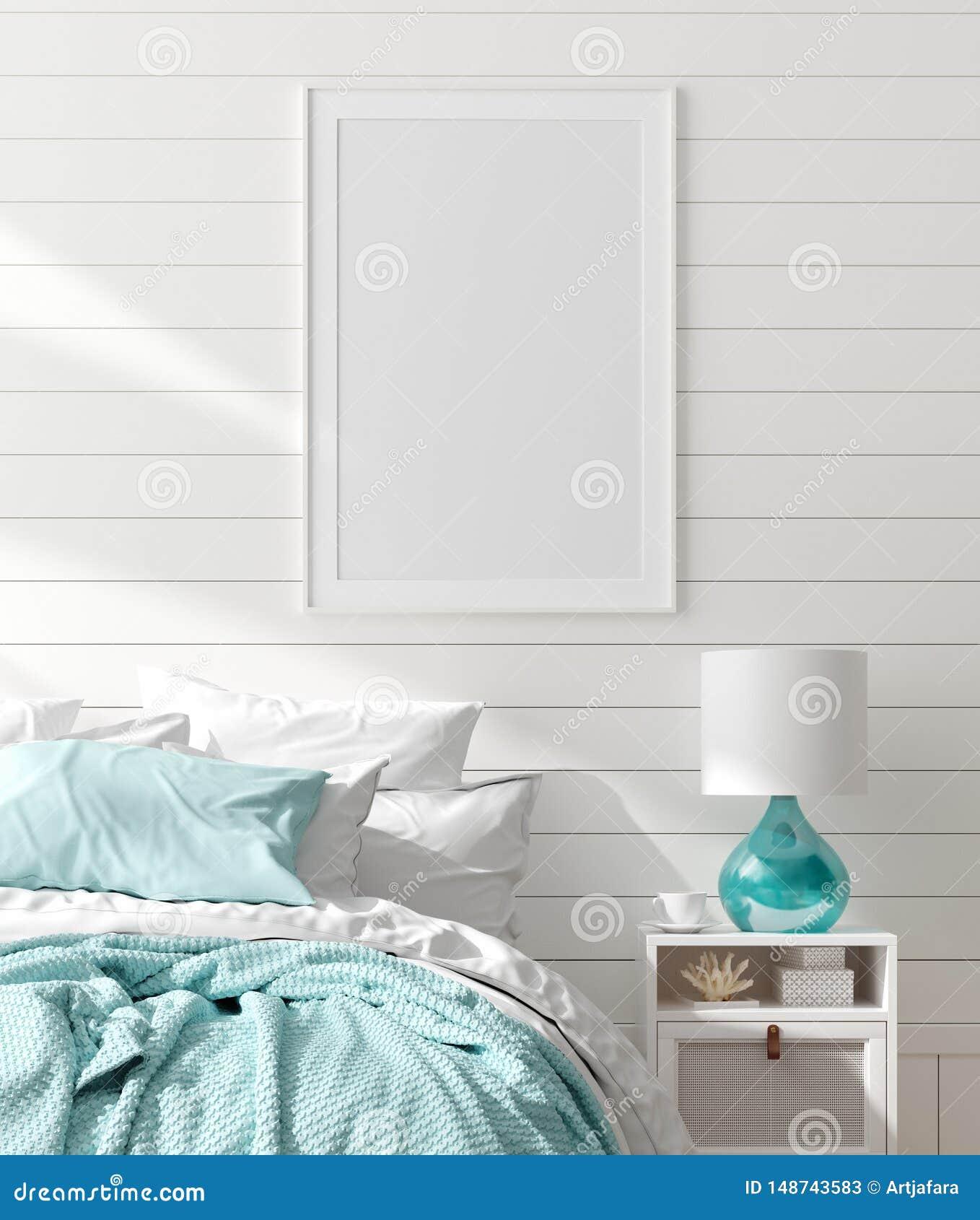 在卧室内部的假装框架,有海装饰的海洋室和家具,沿海样式