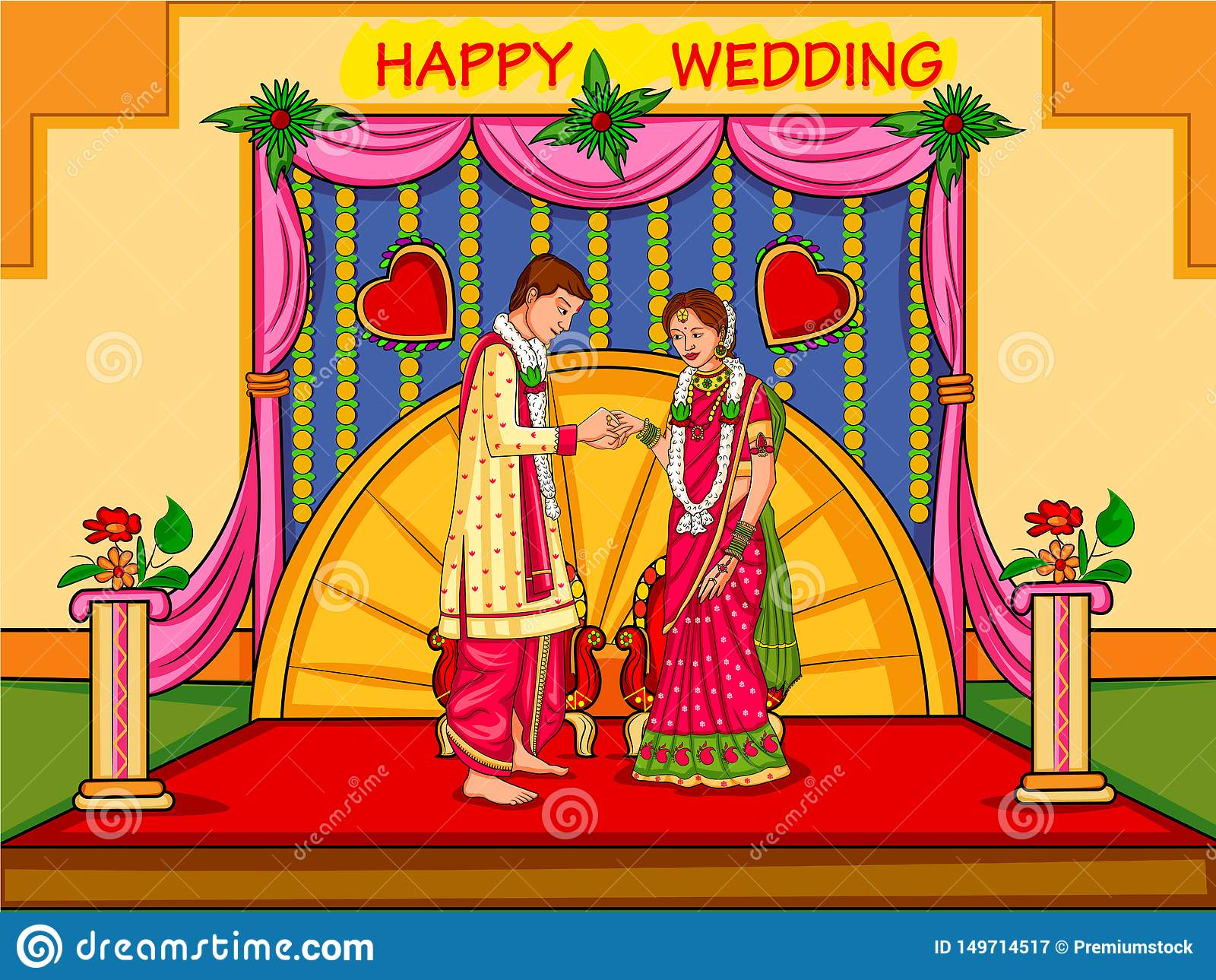 在印度的婚姻的订婚仪式的印度夫妇