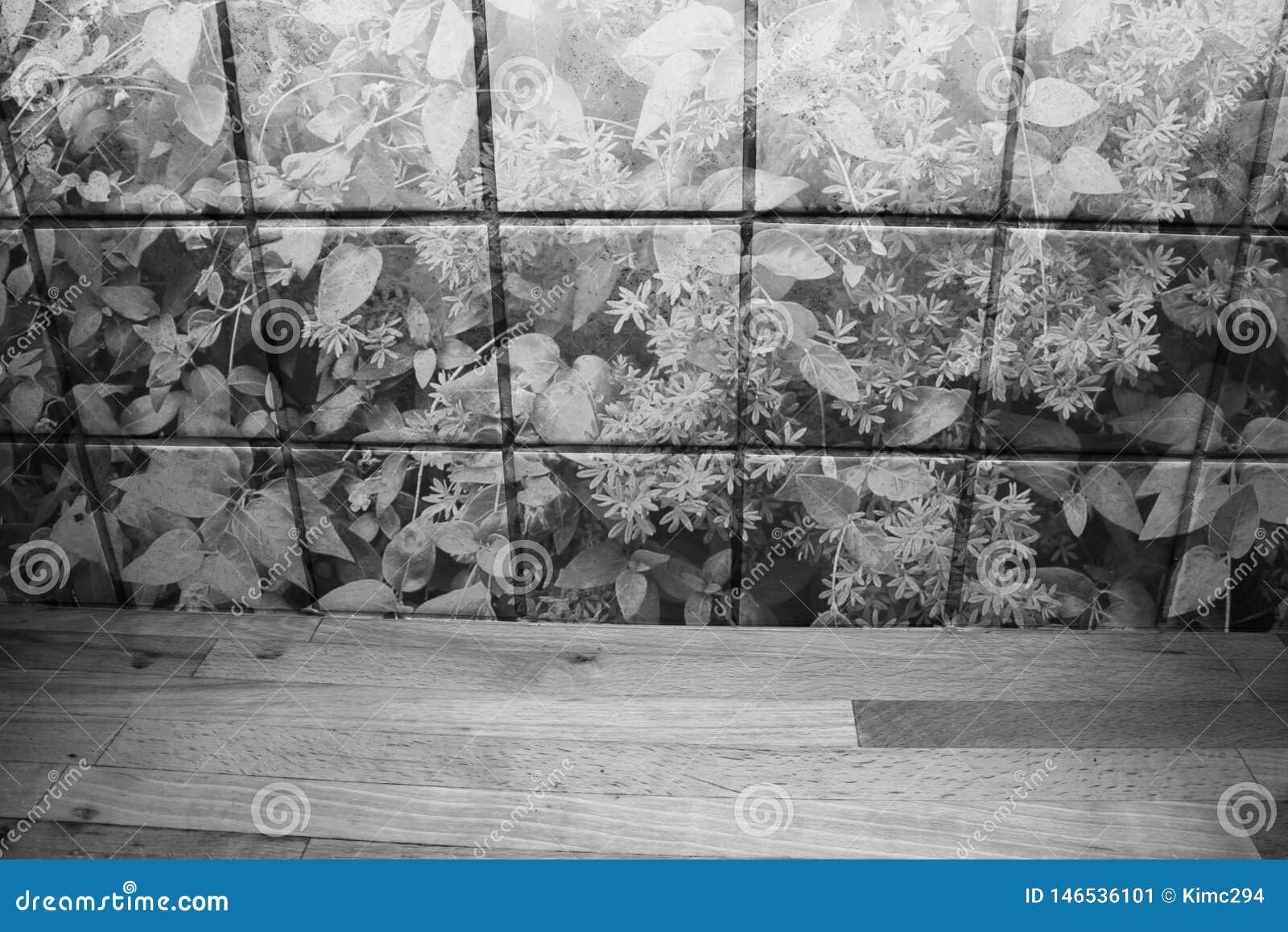 在厨房砖墙前面的木厨台有植物的 E
