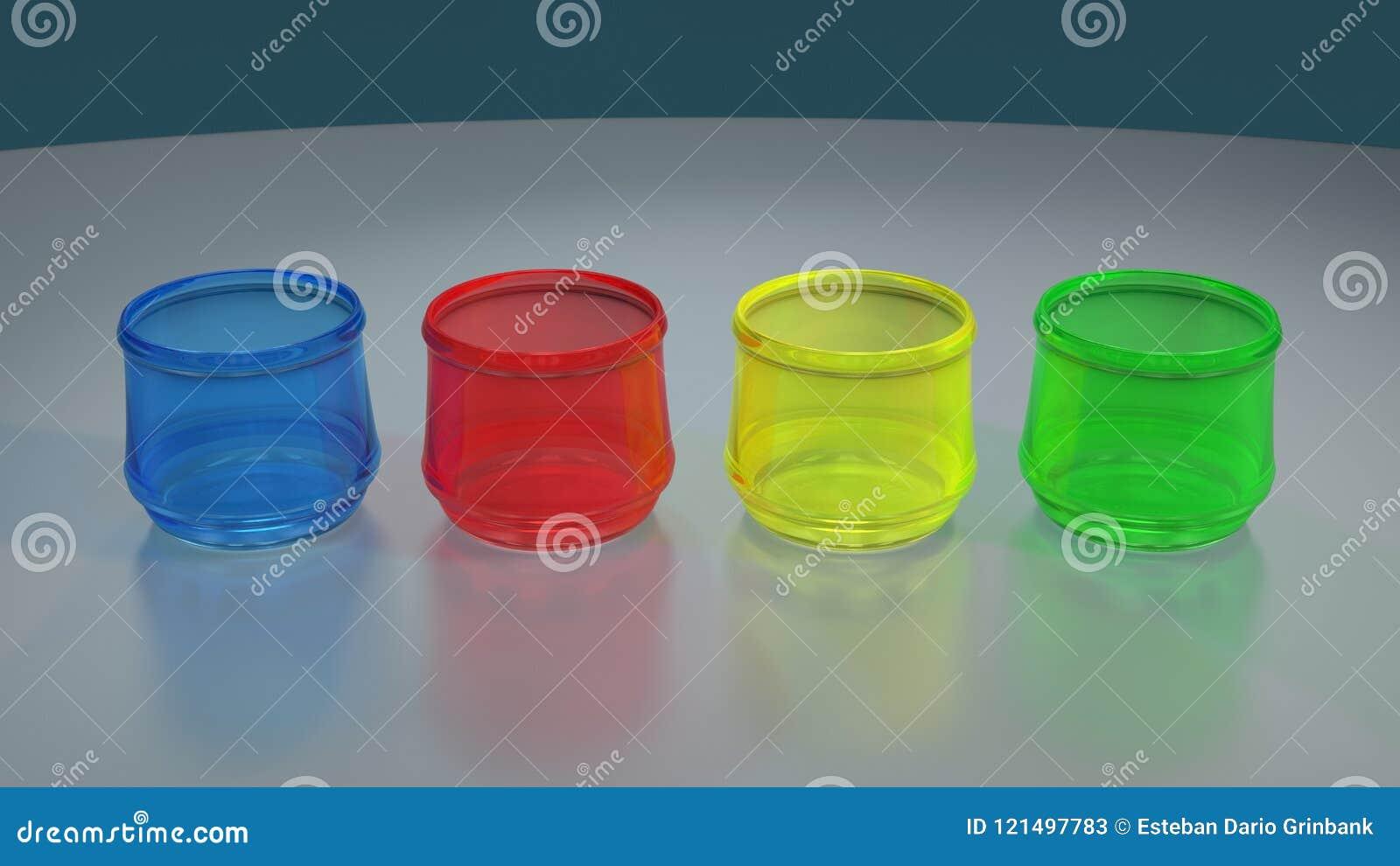 在反射性桌上的四块色的玻璃