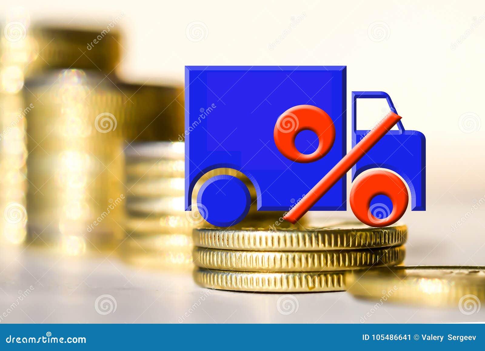 在变化的概念在汽车上的定价金钱的背景的卡车