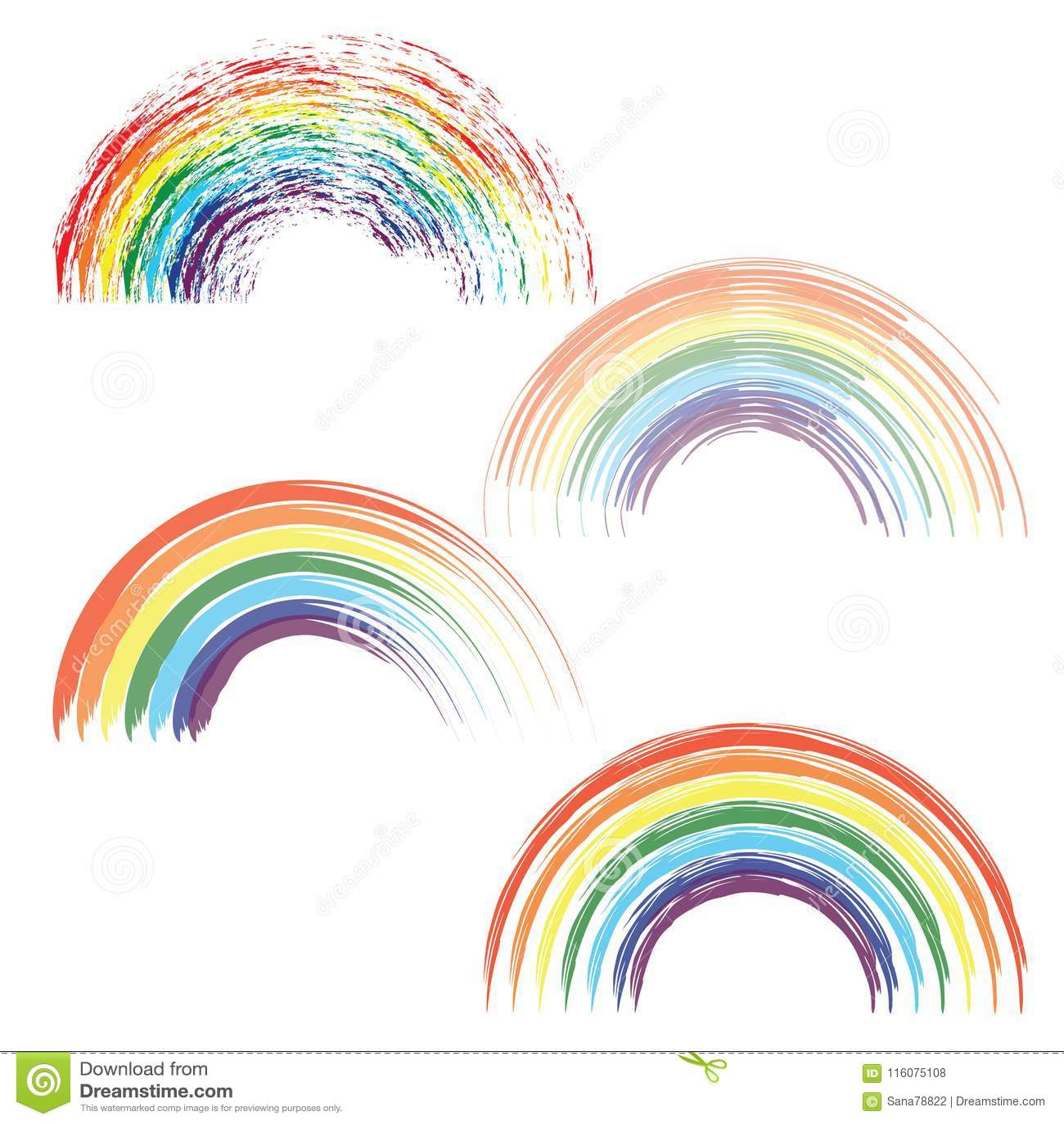 在另外形状现实集合的彩虹在透明背景隔绝了传染媒介